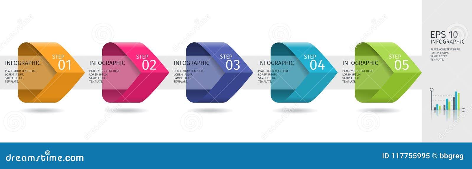 De Infographicpijlen met 5 voeren opties en glaselementen op Vectormalplaatje in vlakke ontwerpstijl