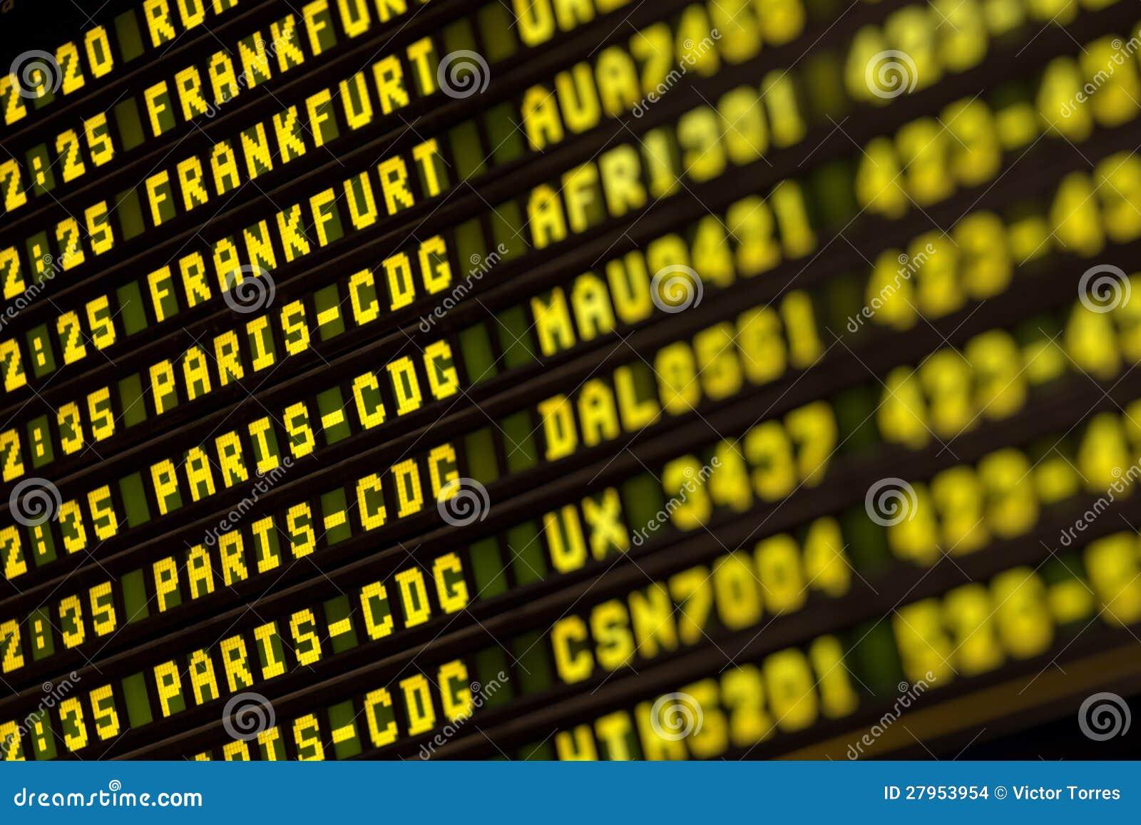 De informatieraad van vluchten in luchthaventerminal