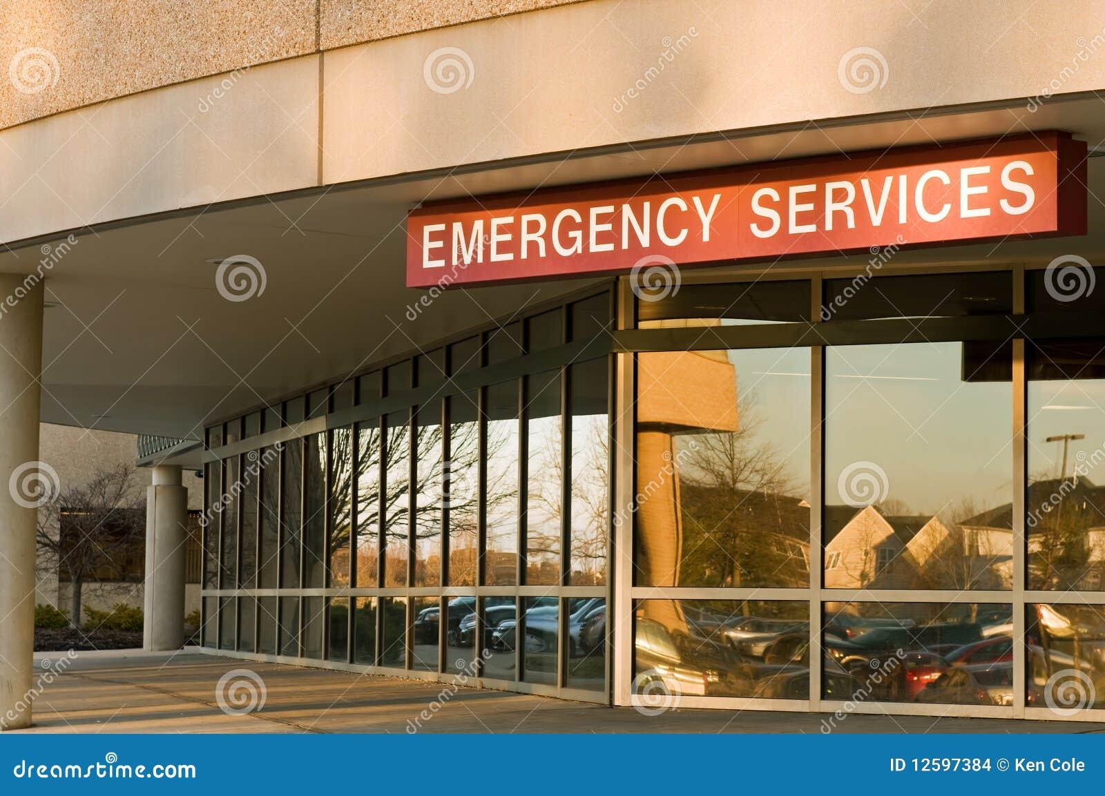 De ingang van de de noodsituatieruimte van het ziekenhuis