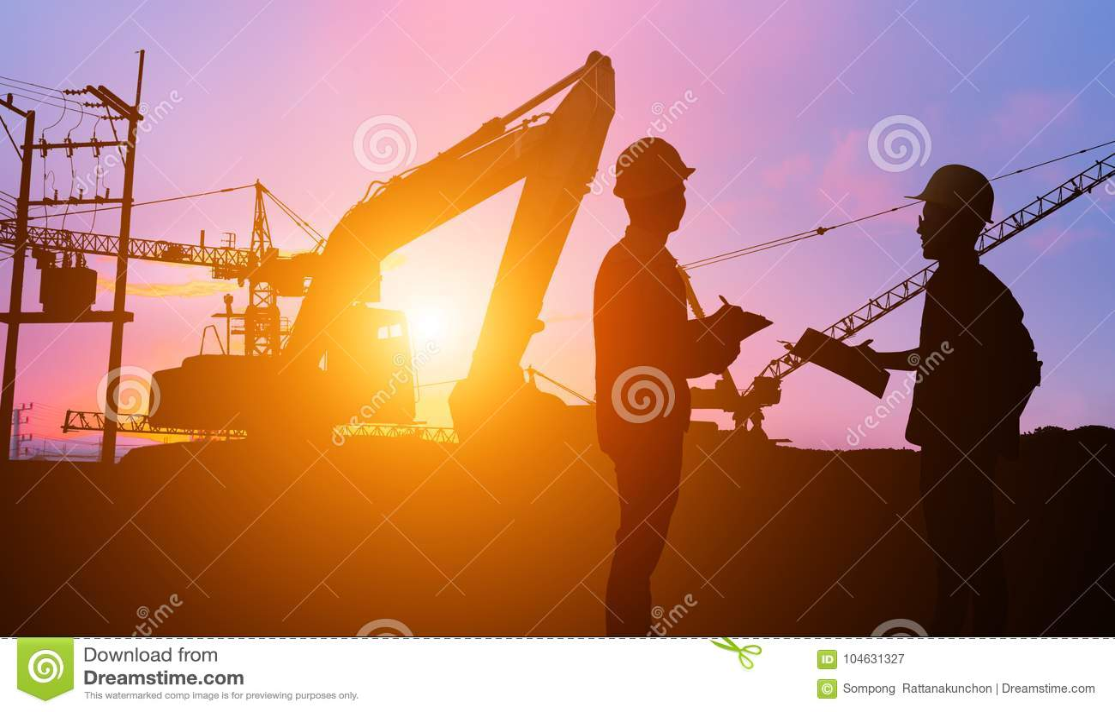Download De Ingenieur Die Van Silhouetteams Bouwvakker Kijken Stock Afbeelding - Afbeelding bestaande uit mensen, bouwer: 104631327