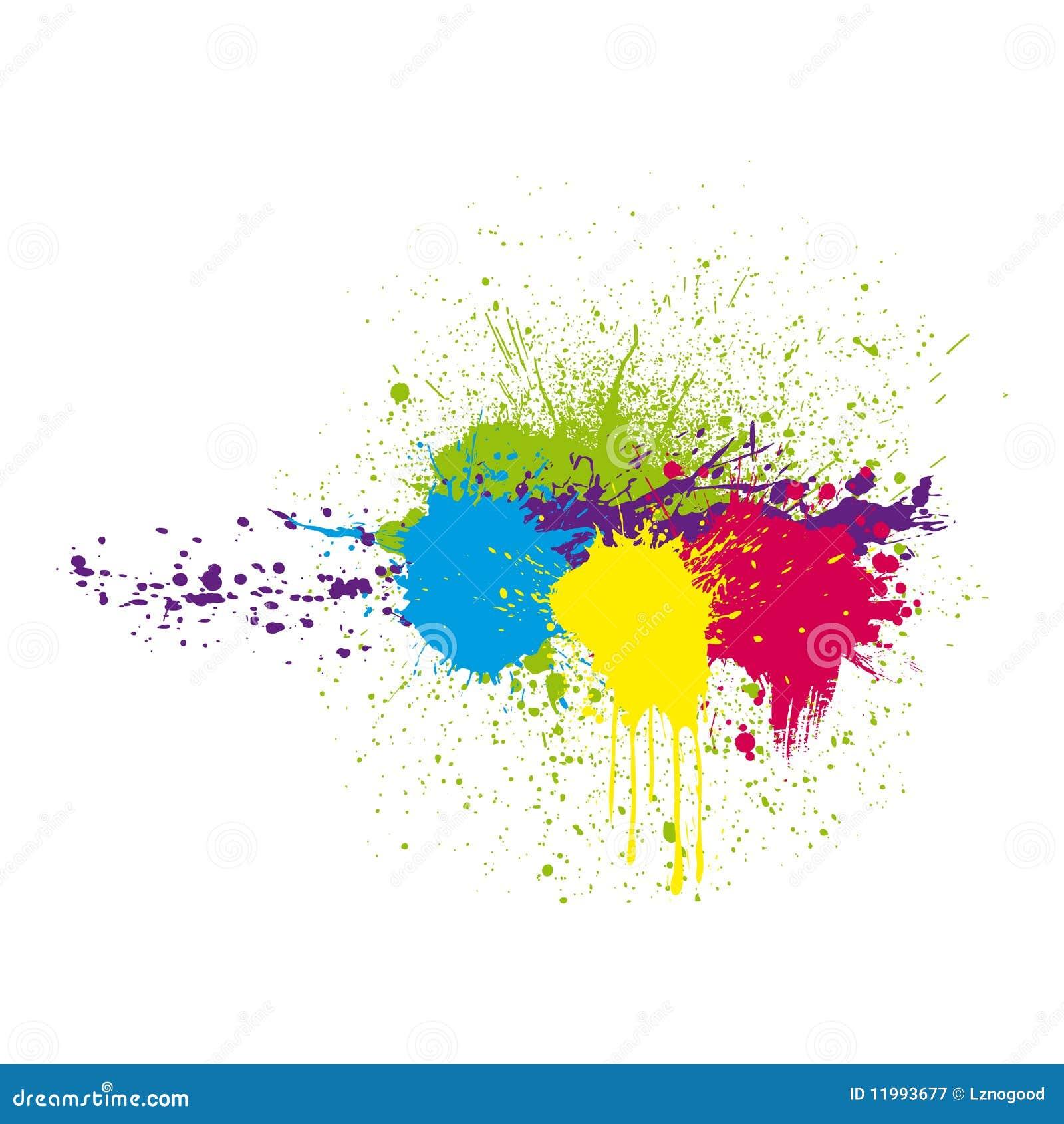 De inkt van de kleur ploetert
