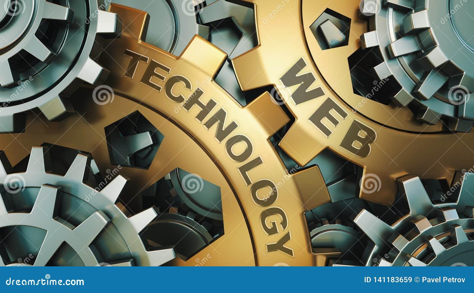 De inschrijving op de gouden toestellen 'Webtechnologie ' Bedrijfs concept Toestelmechanisme 3d geef terug