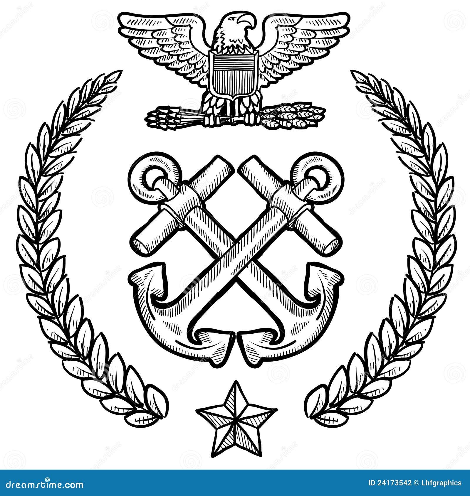 De insignes van de Marine van de V.S. met kroon