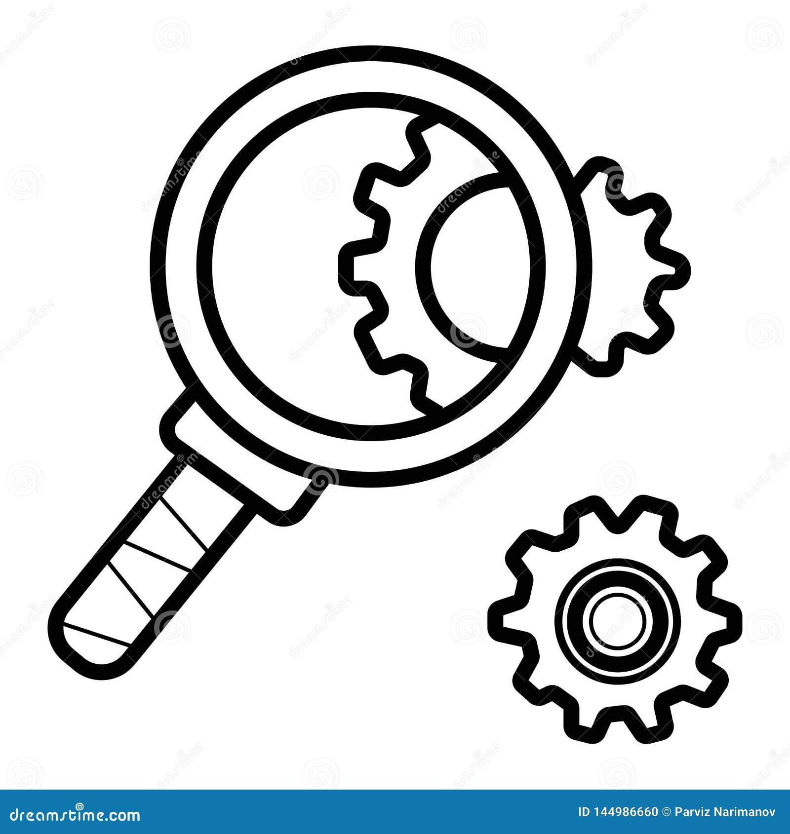 De inspectie vlak pictogram van radertjewielen Configuratie vectorillustratie