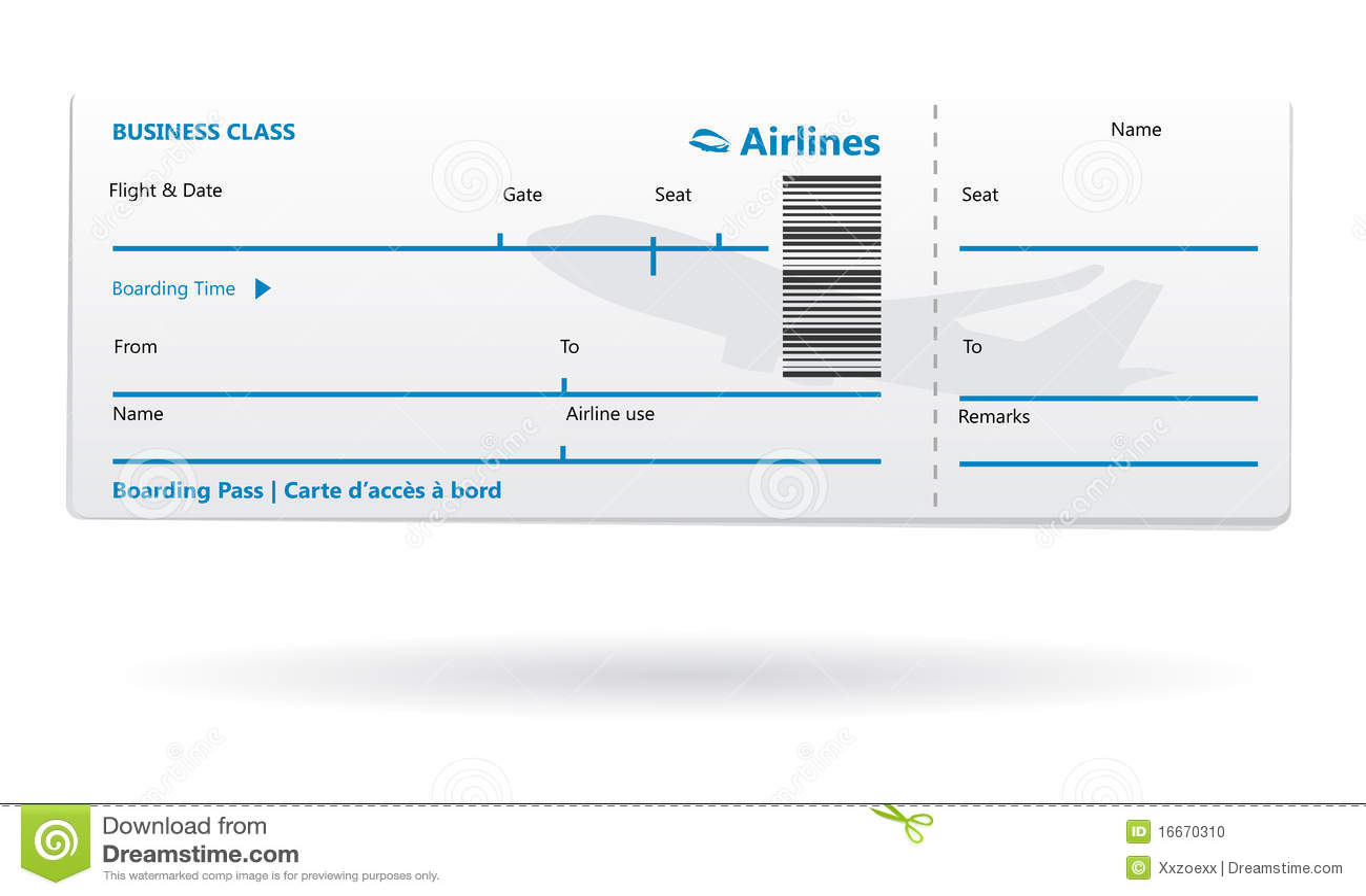 De instapkaartspatie van de luchtvaartlijn