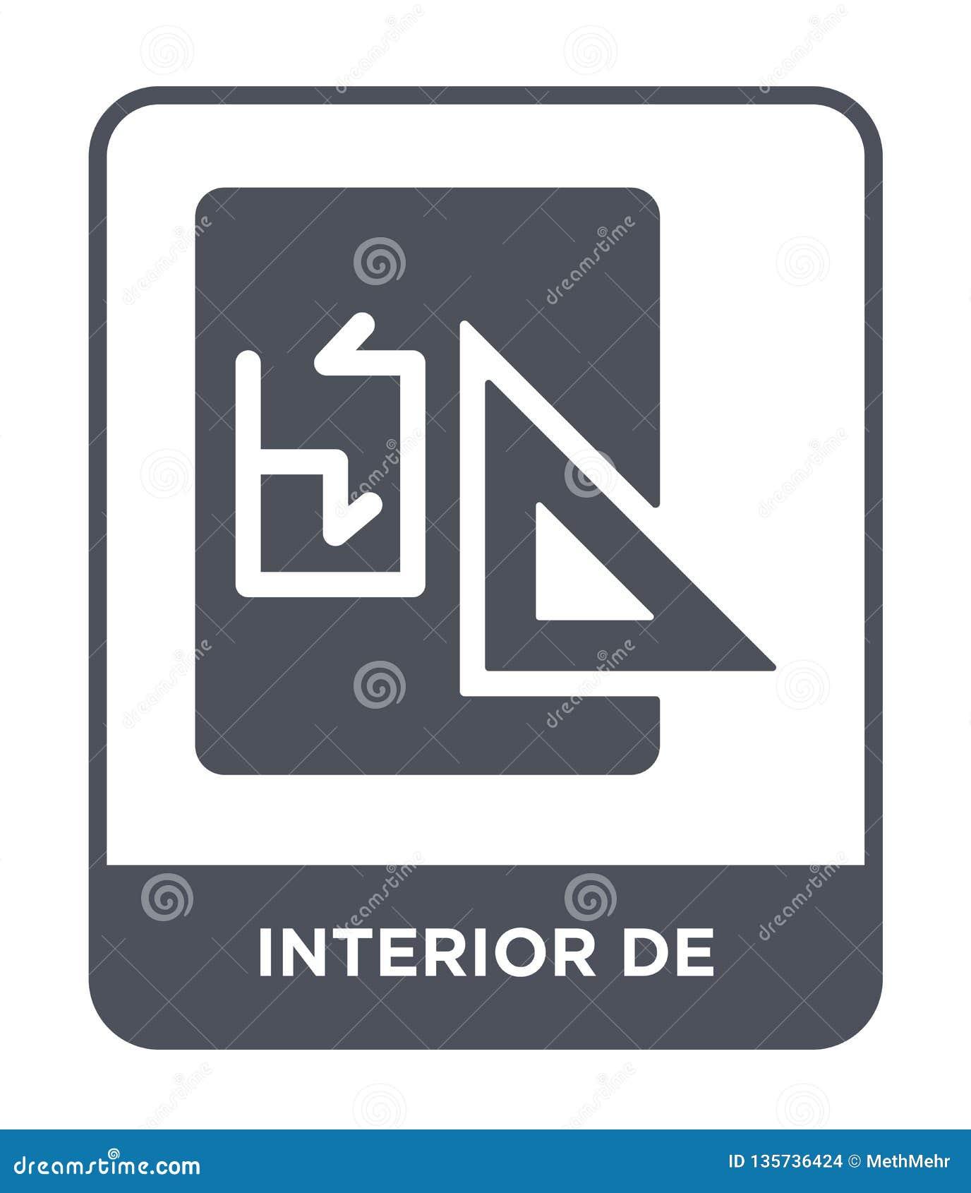 De interior ícone no estilo na moda do projeto de interior ícone isolado no fundo branco ícone interior de vetor simples e modern