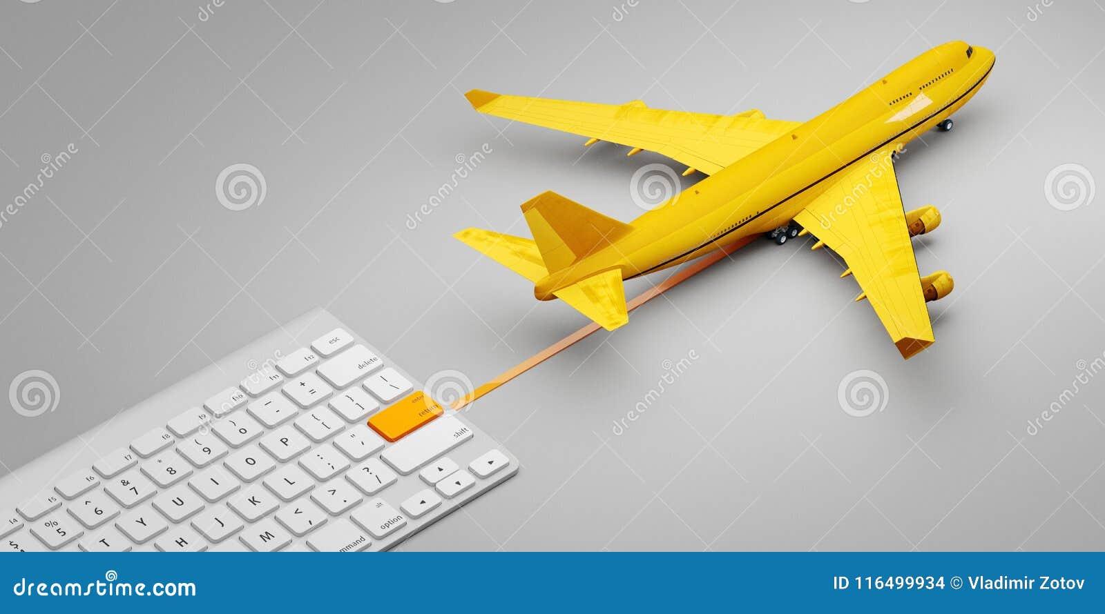 De internationale postdienst van de de luchtlevering van post uitdrukkelijke avia Het concept één klikt levering 3D Illustratie