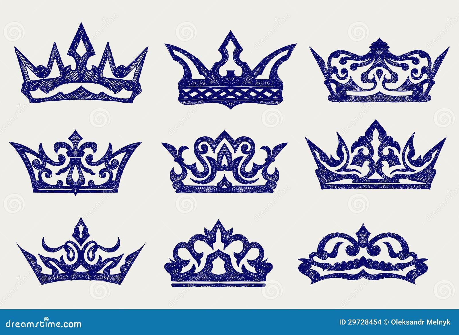De inzameling van de kroon de stijl van de krabbel stock