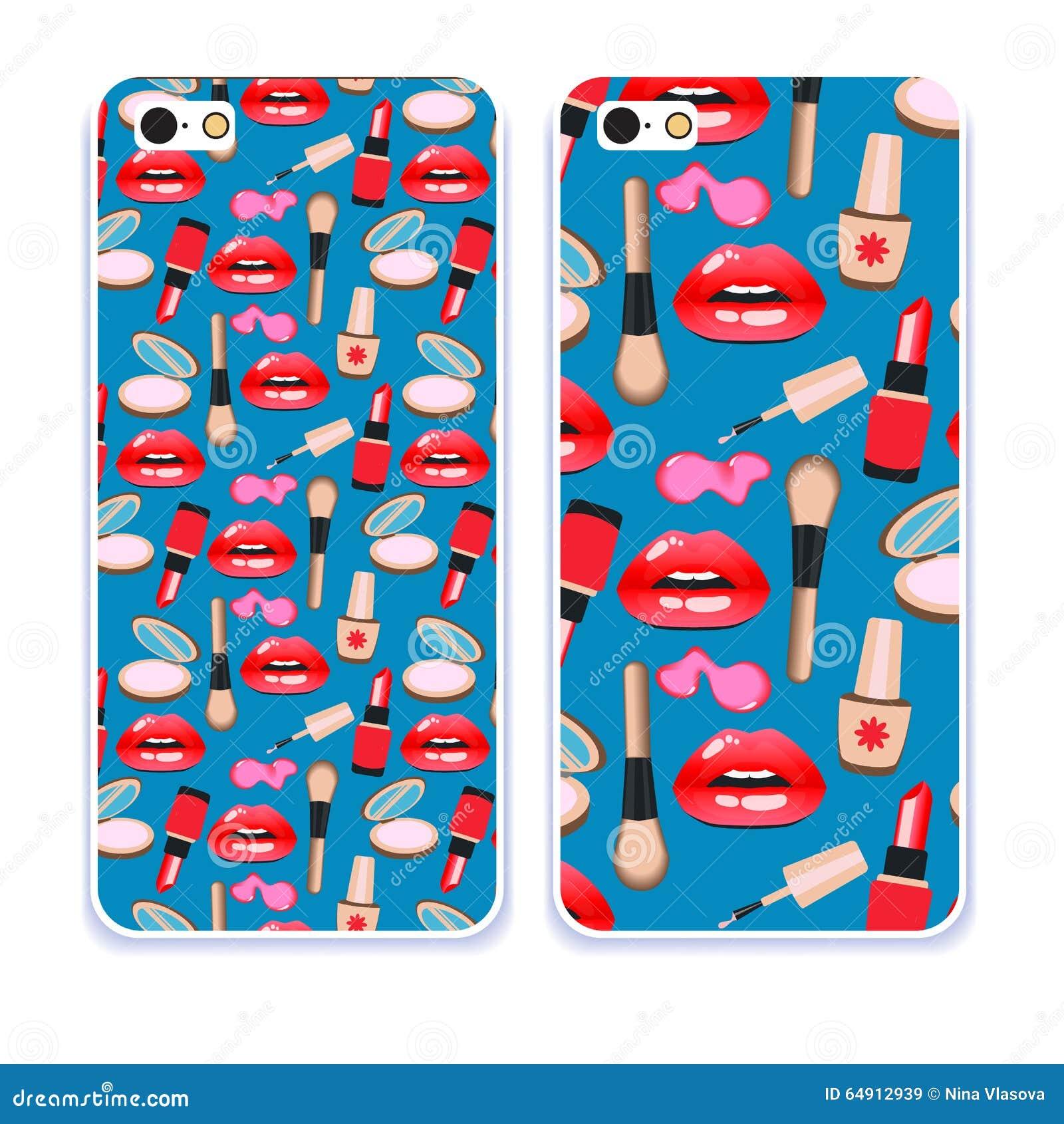 De inzameling van het telefoongeval Polijsten de close-up mooie lippen van vrouw met rode lippenstift en Sexy natte lippensamenst