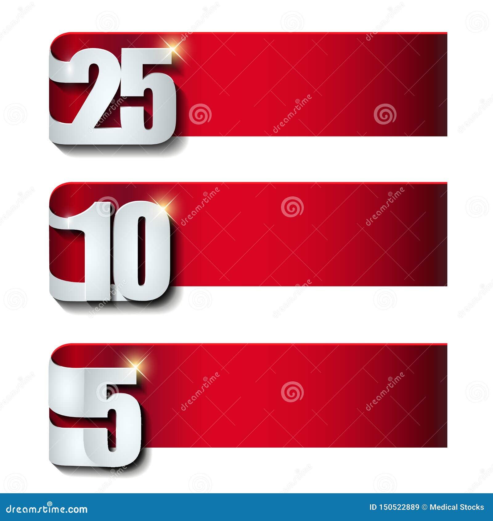 De inzameling van de verjaardagsbanner met 3d effect aantal op wit malplaatje wordt geïsoleerd dat als achtergrond