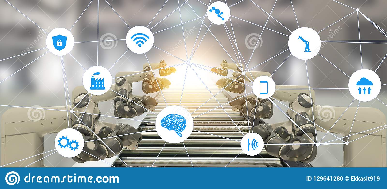 De Iotindustrie 4 0 het concept van de kunstmatige intelligentietechnologie Slimme fabriek die het neigen automatiserings robotac