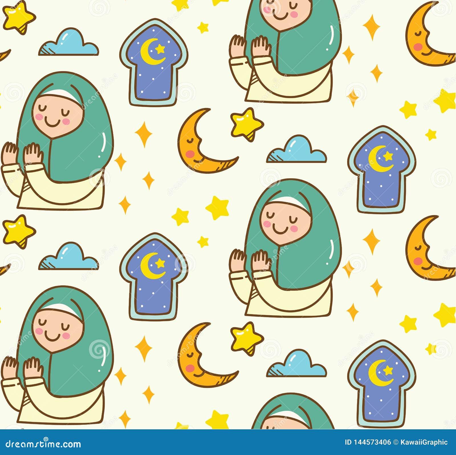 De Islamitische achtergrond van de beeldverhaalkrabbel voor Eid-al fitr of ramadan viering