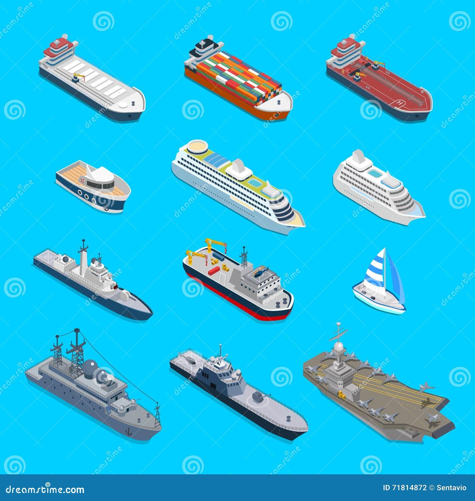 De isometrische cruise van het de ladingsjacht van de 12 schip vectorreis militaire