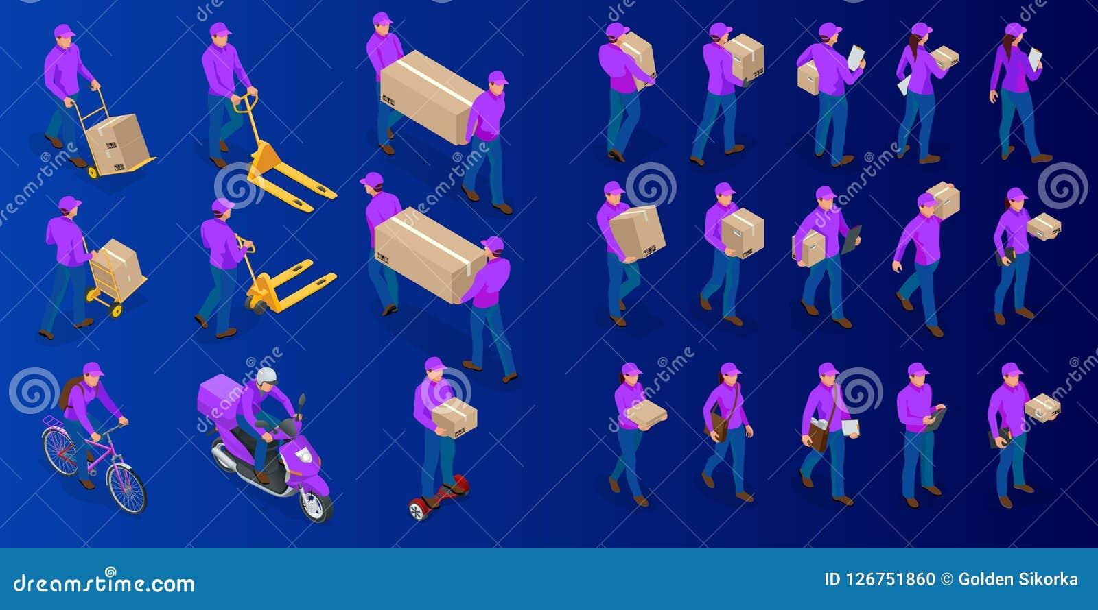 De isometrische grote reeks van de leveringsmens en vrouw in eenvormige holdingsvakjes en documenten in verschillend stelt inzame