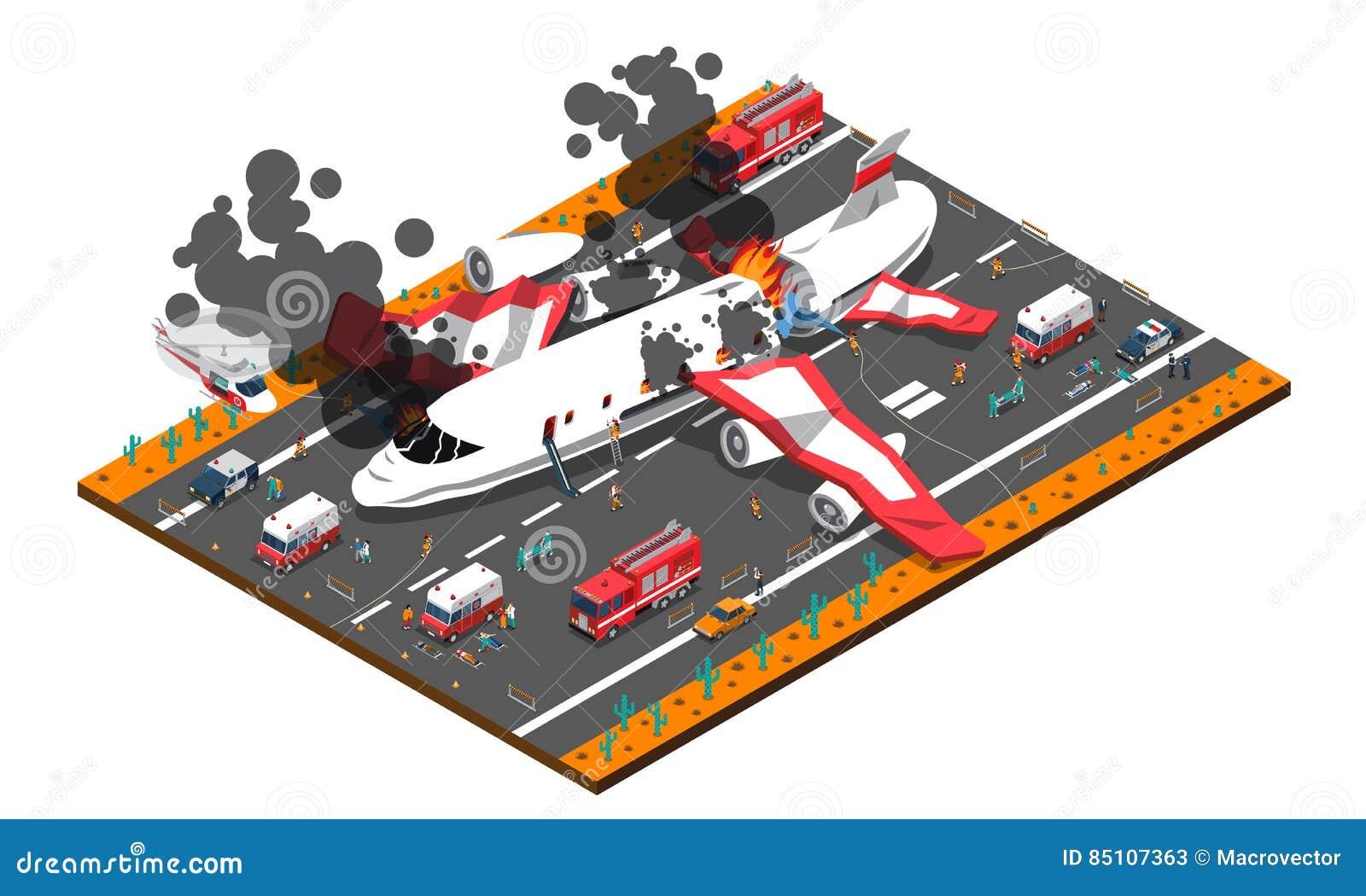 De Isometrische Samenstelling van de vliegtuigneerstorting