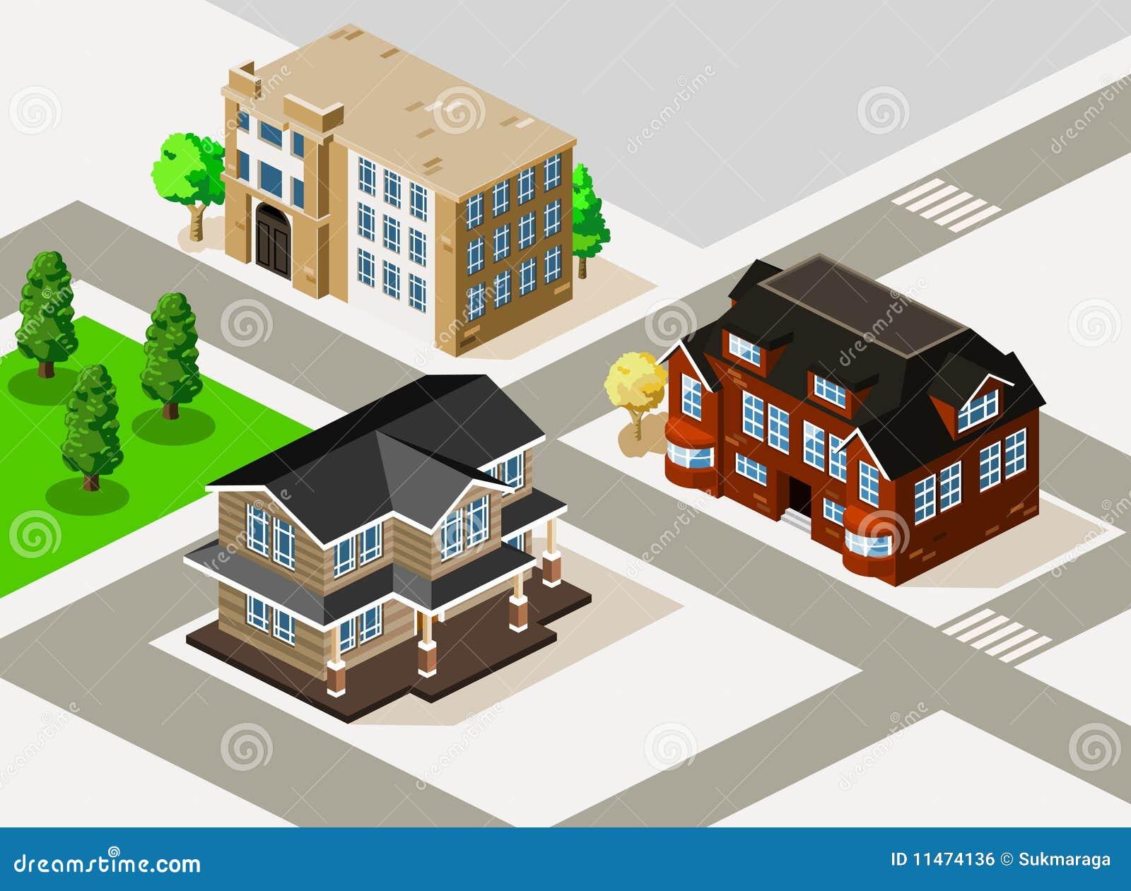 De isometrische vector van het huis vector illustratie