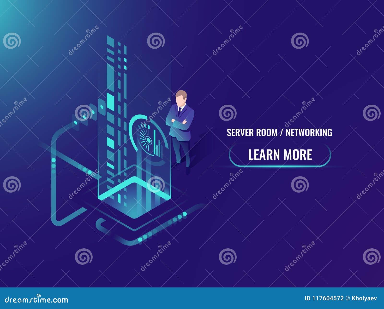 De isometrische verwerking van de gegevensstroom, veilige informatie over het concept van de wolkenserver, tast een persoonsgezic