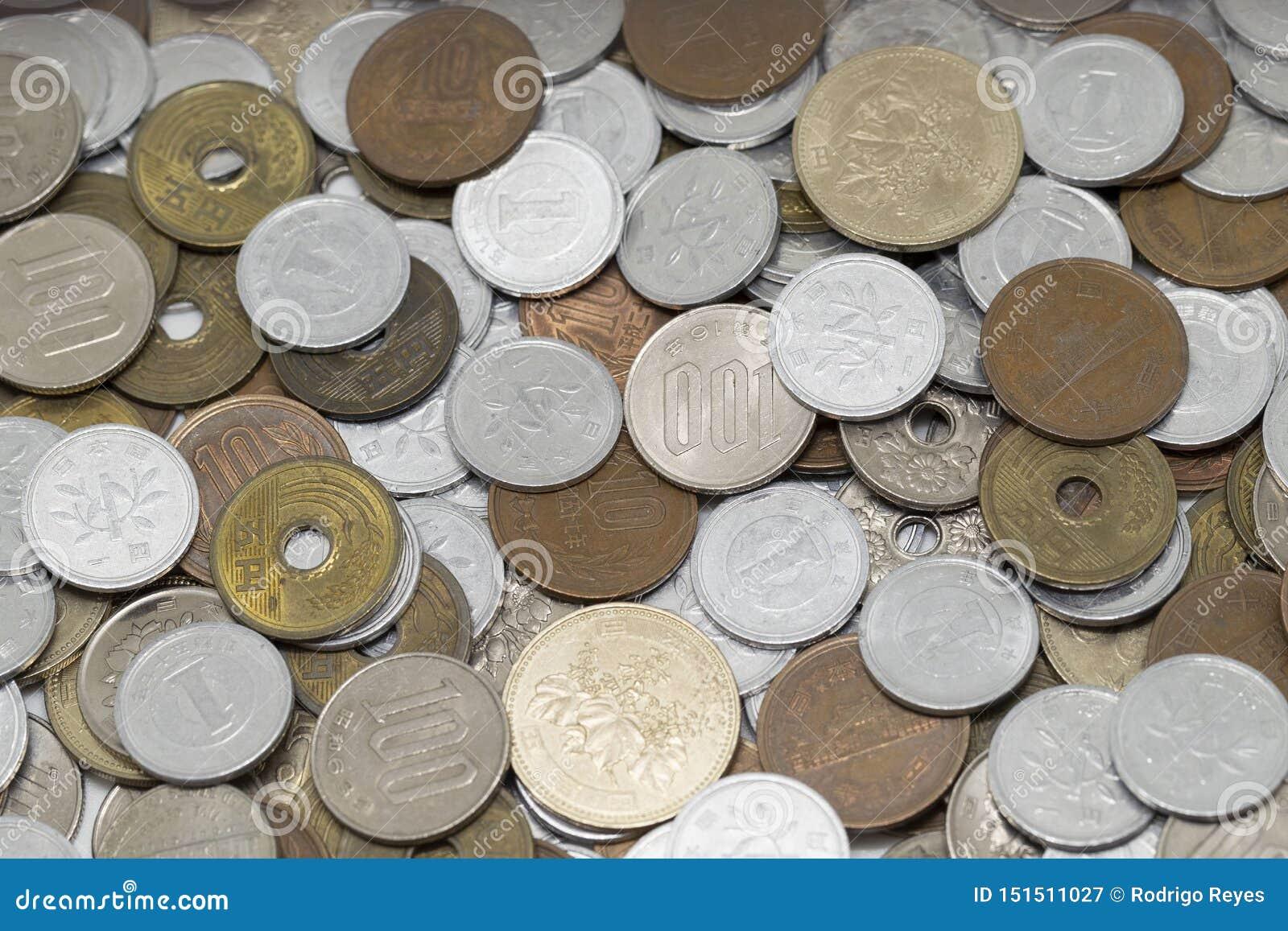 De Japanse muntstukken van de Yen