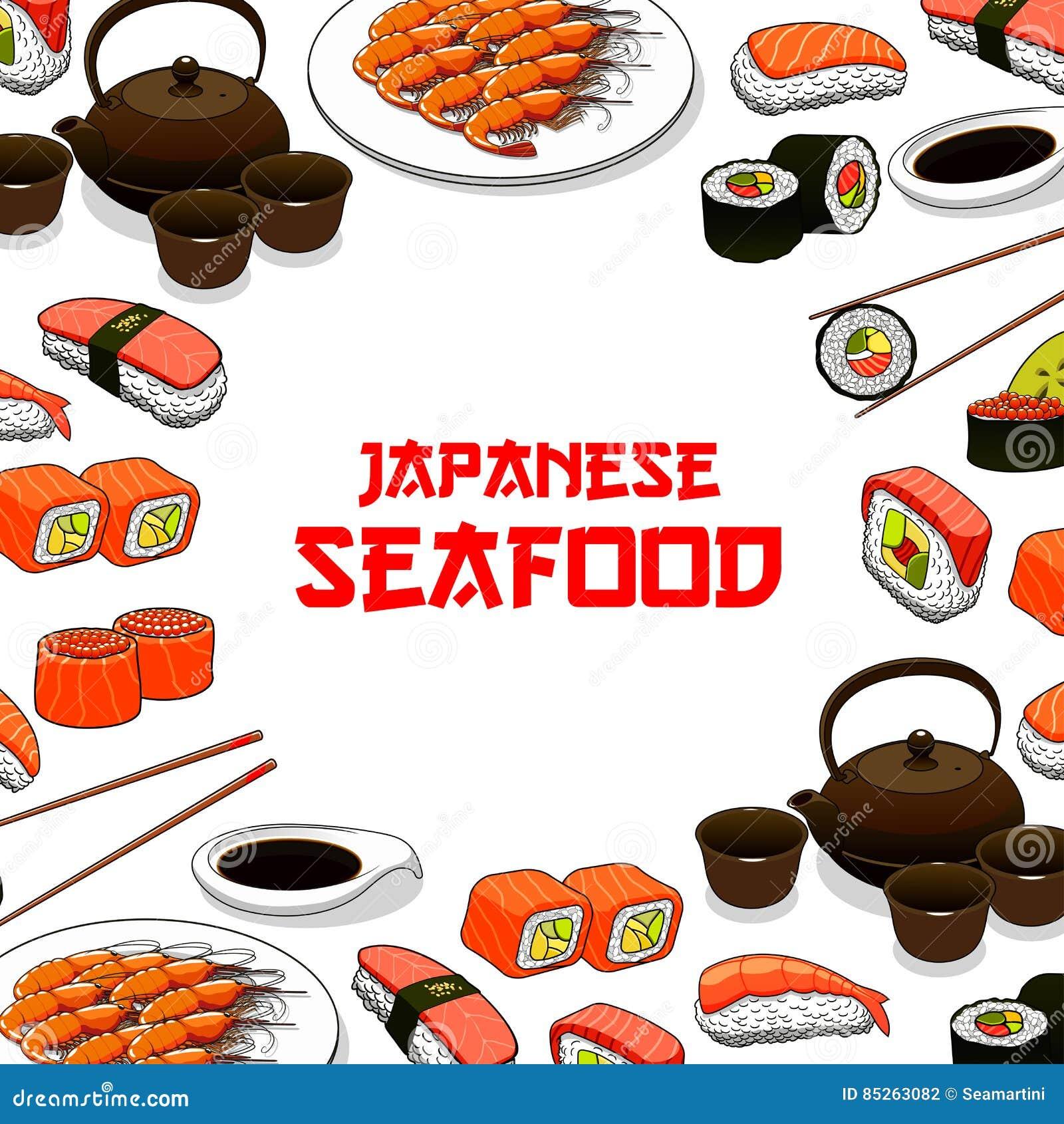 De Japanse van de de vissensashimi van zeevruchtensushi vectoraffiche