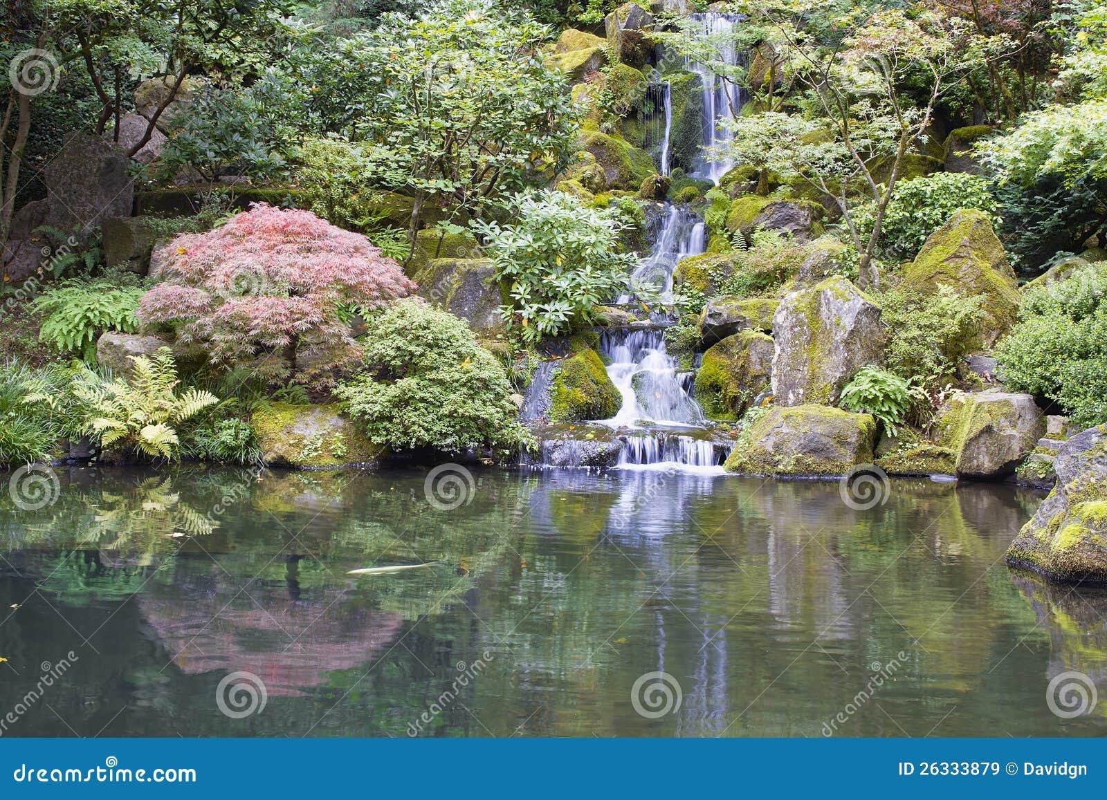 De japanse vijver van koi van de tuin met waterval stock for Waterval vijver aanleggen