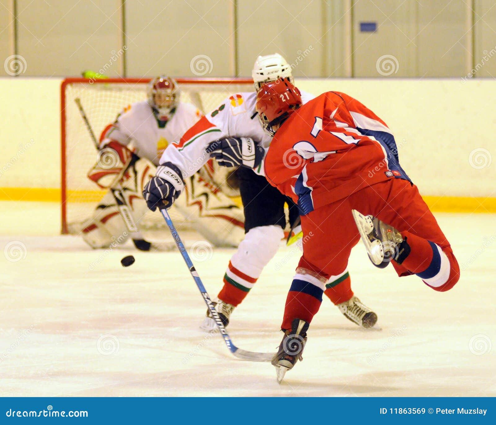 De jeugd nationale ijs-hockey van Hongarije - van Rusland gelijke