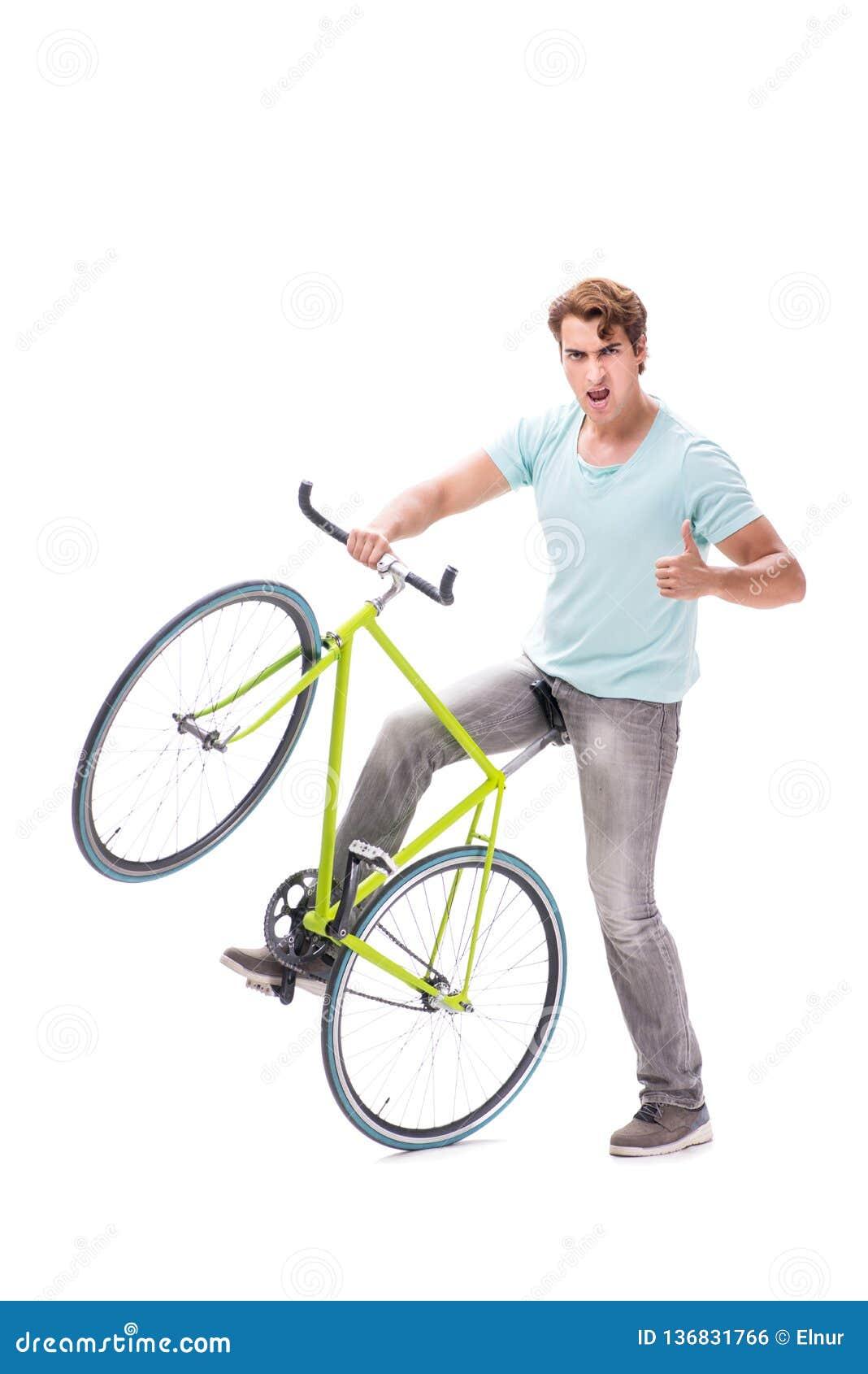 De jonge die man met cyclus op wit wordt geïsoleerd