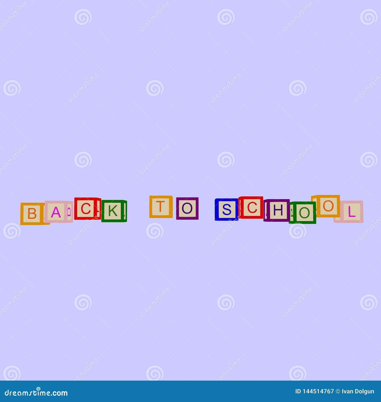 De jonge geitjes kleuren kubussen met brieven Terug naar School Vector
