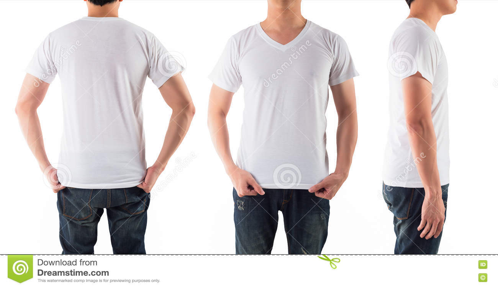 De jonge mens met leeg wit overhemd isoleerde witte achtergrond
