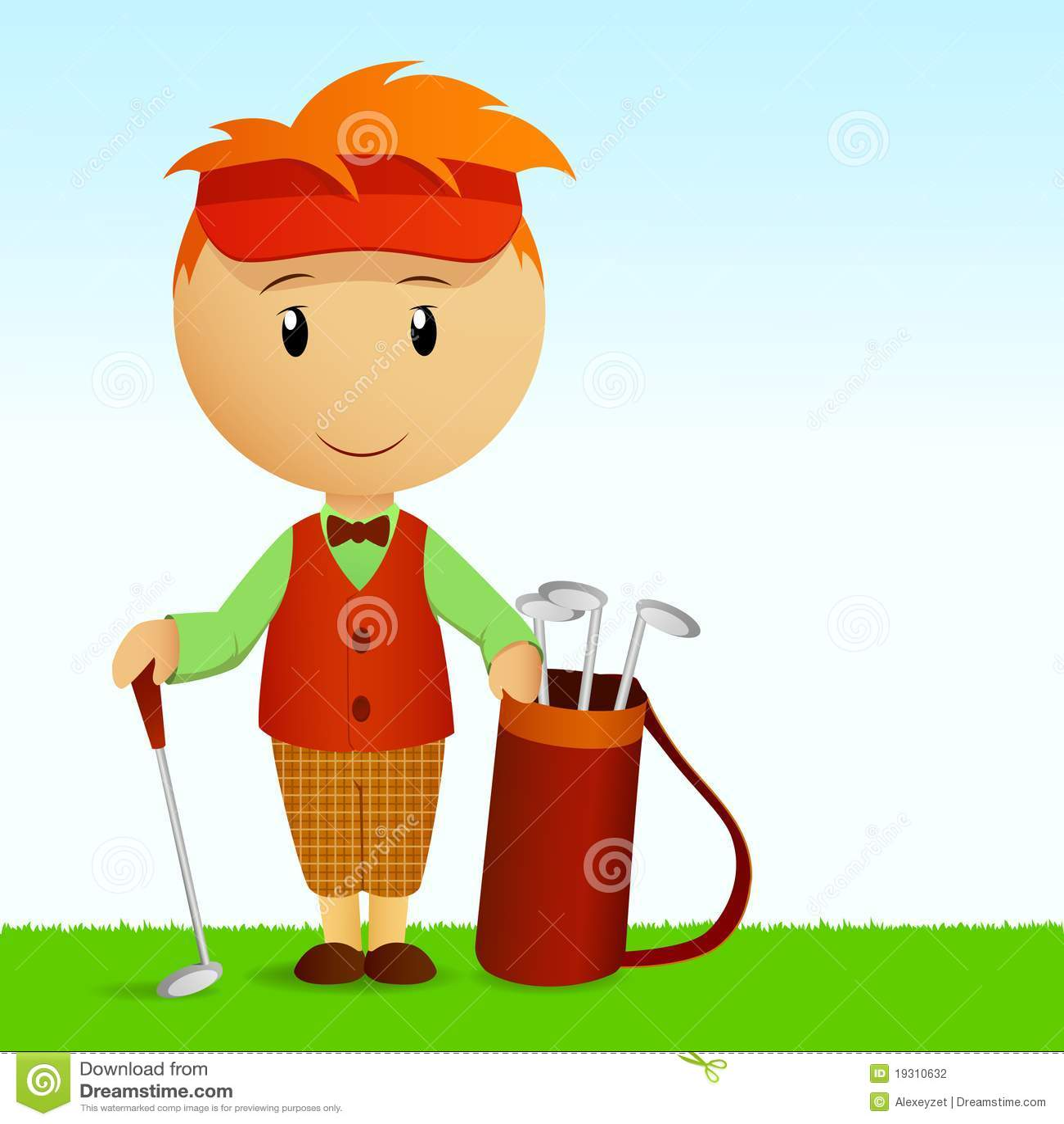De jonge mens van het beeldverhaal met zak van golfclubs