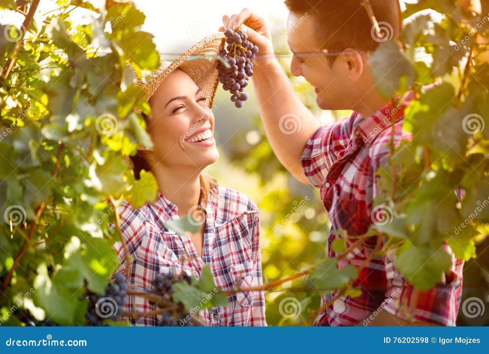 De jonge mens voedt zijn meisje met druiven