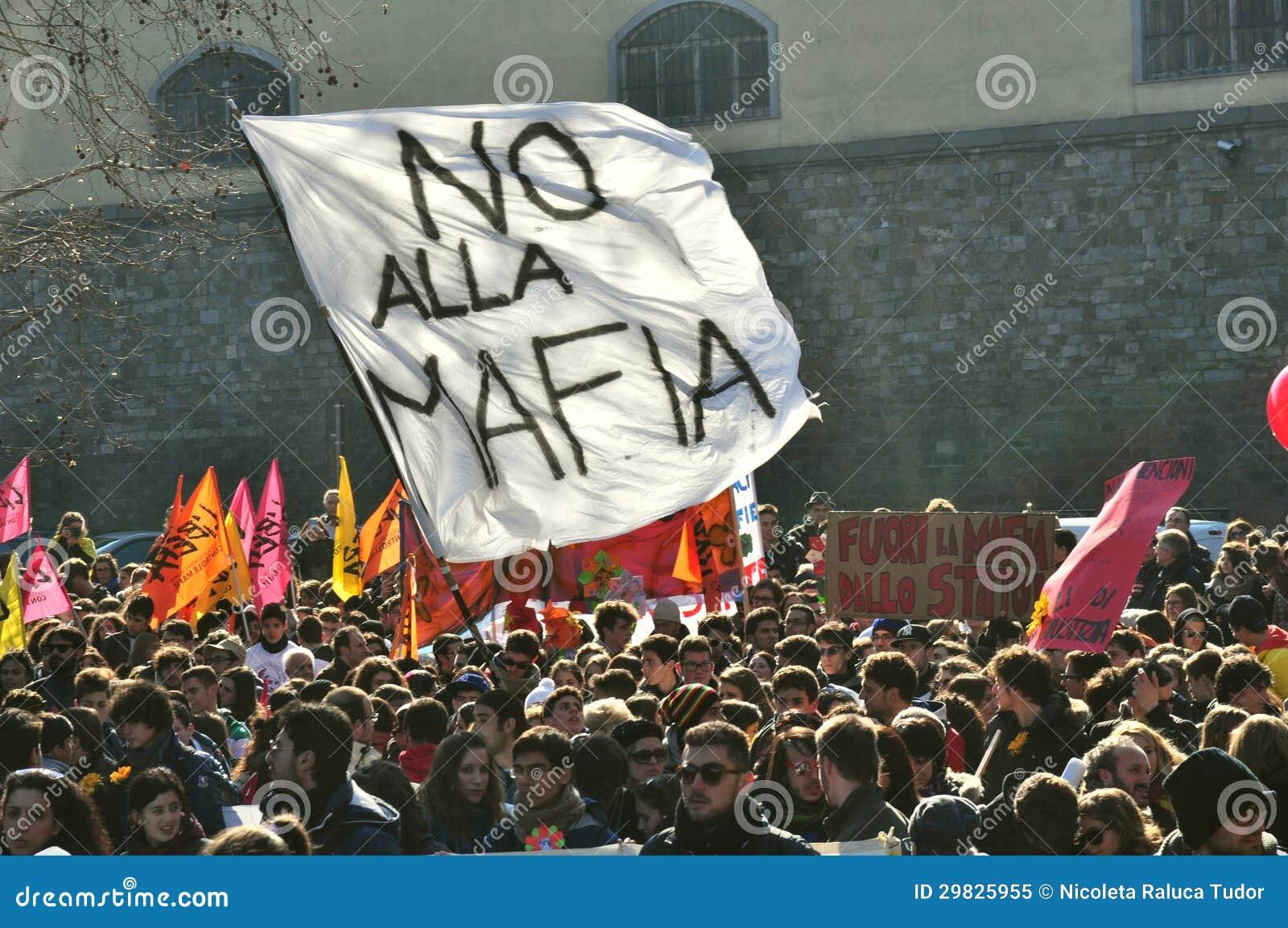 Demonstratie tegen Maffia, menigte, in Italië