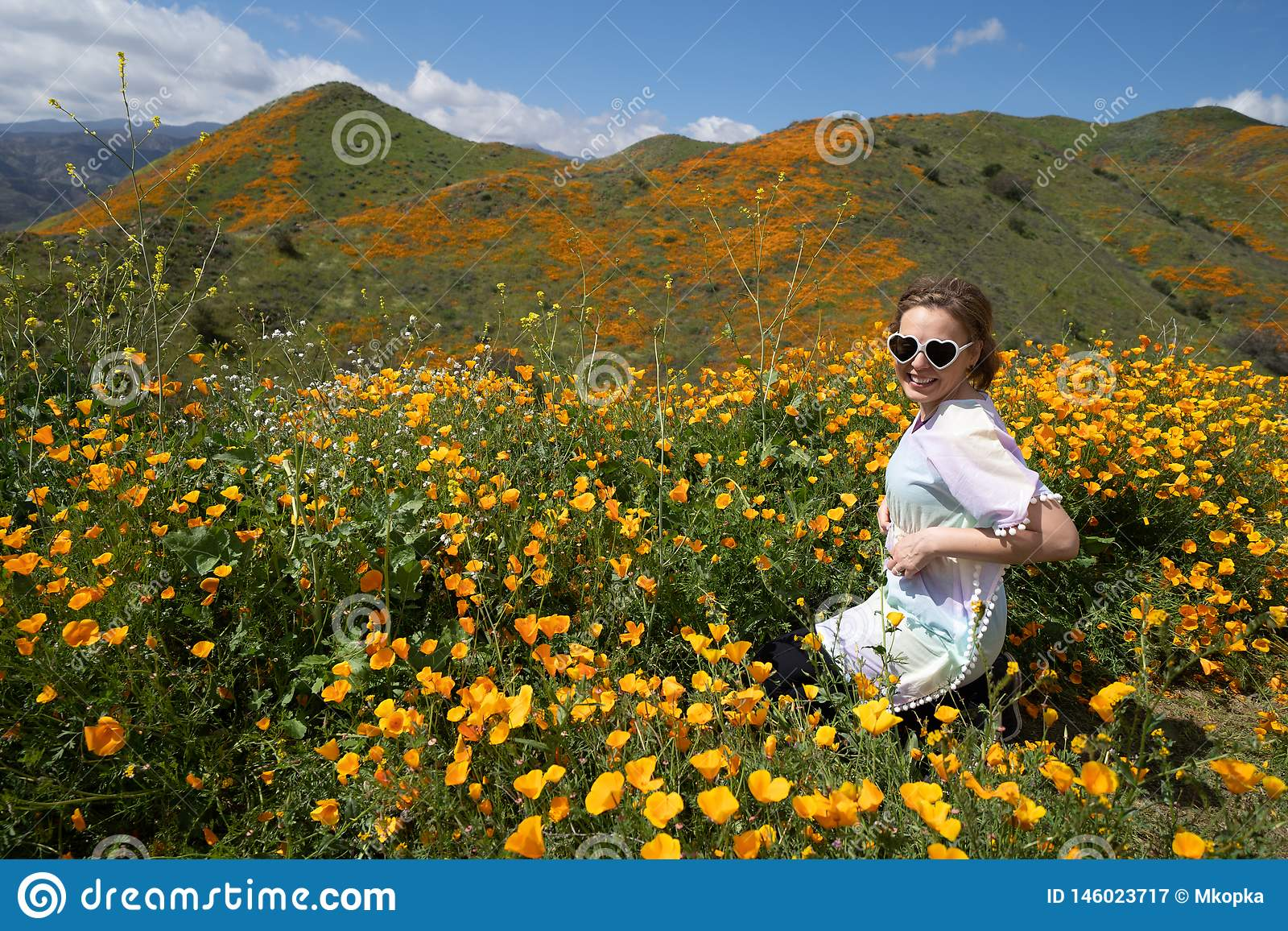 De jonge vrouw die hartzonnebril en toevallige kleding dragen stelt op papavergebied