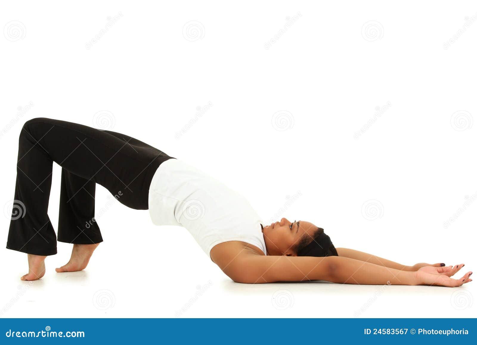 De jonge Yoga van de Zwarte over Witte Achtergrond