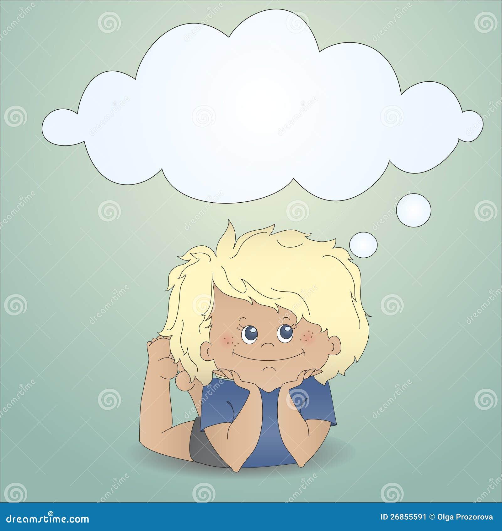 De jongen die van het beeldverhaal met een gedachte bel droomt stock afbeelding afbeelding - Turquoise ruimte van de jongen ...
