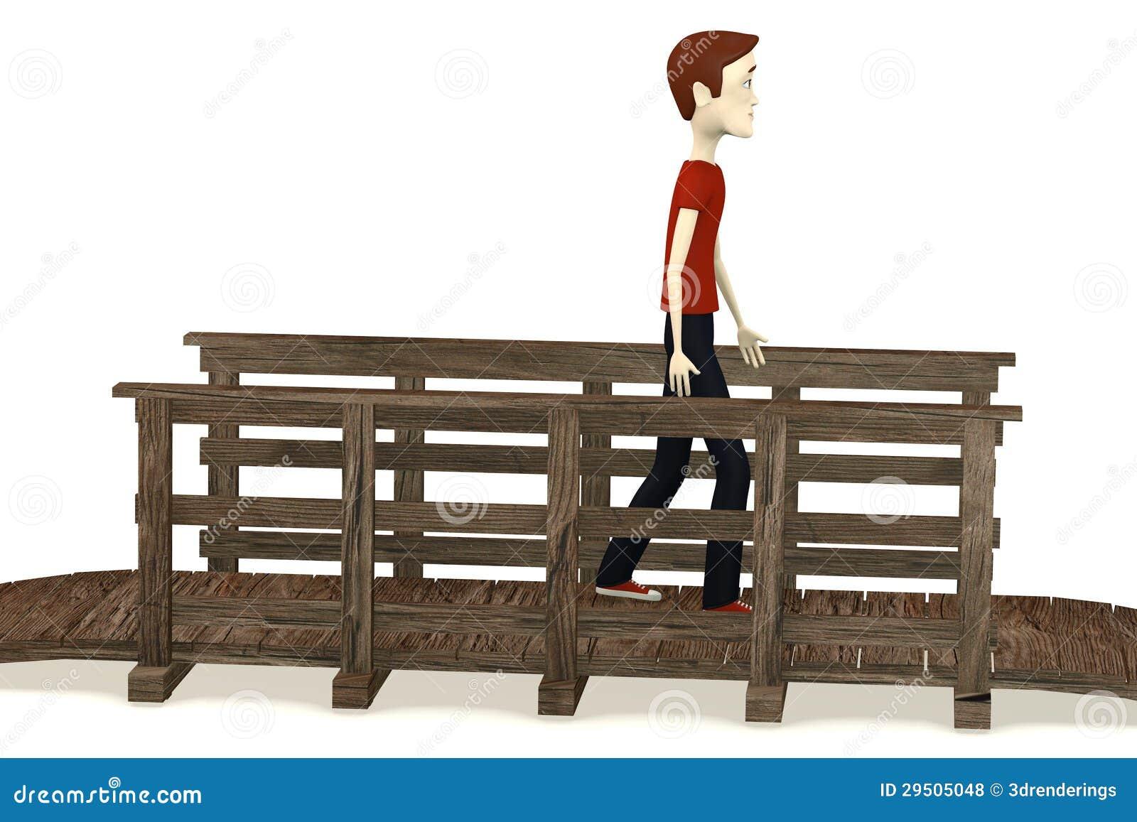 De jongen die van het beeldverhaal op brug lopen