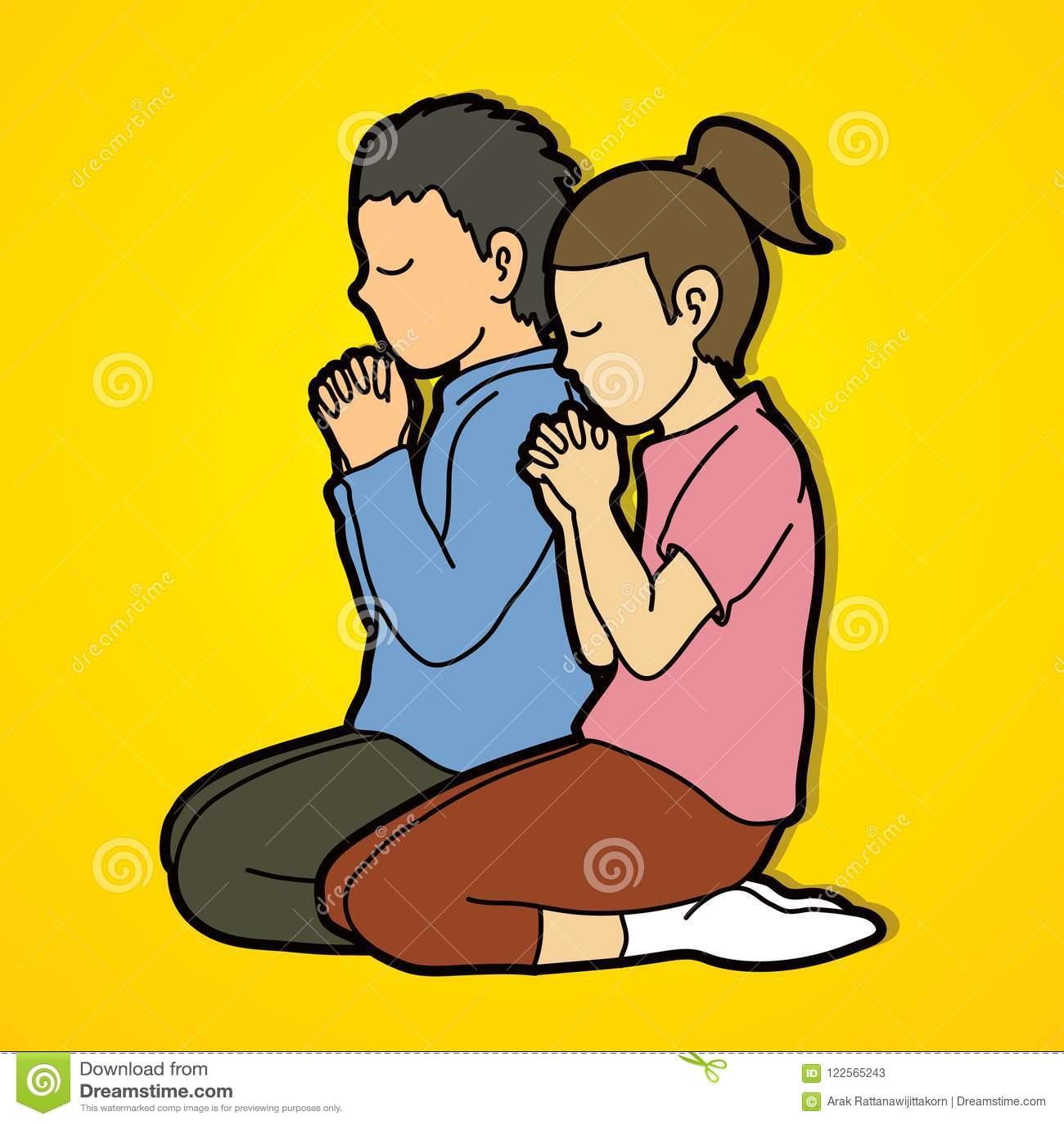 Wonderbaar De Jongen En Het Meisje Bidden Samen, Gebed, Bidden De CF-83