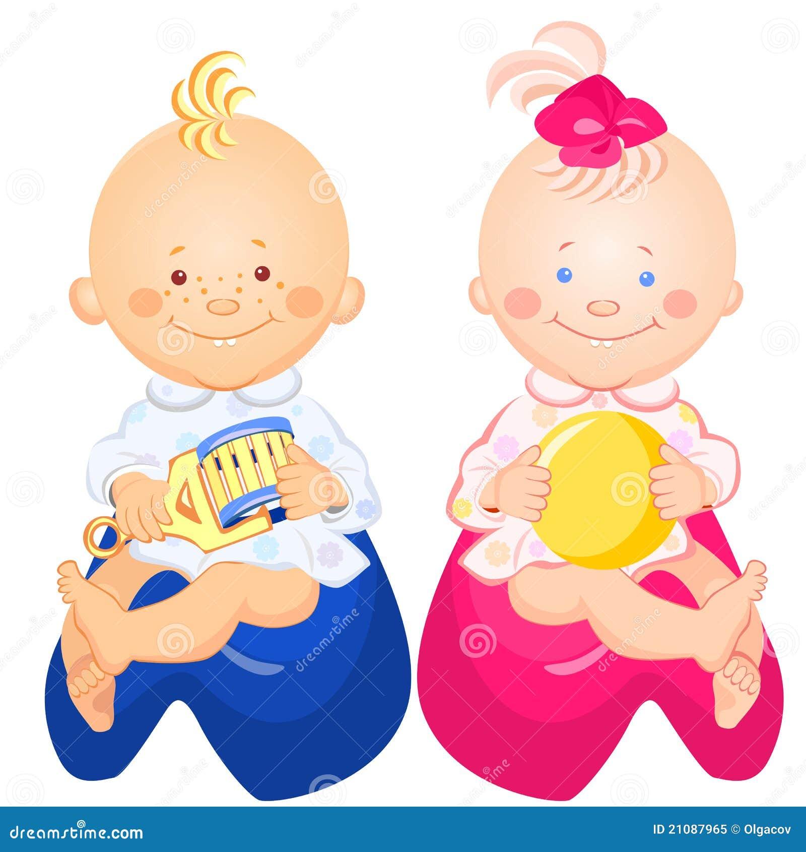 De jongen en het meisje van de baby zitten op de potten vector illustratie afbeelding 21087965 - Foto baby jongen ...