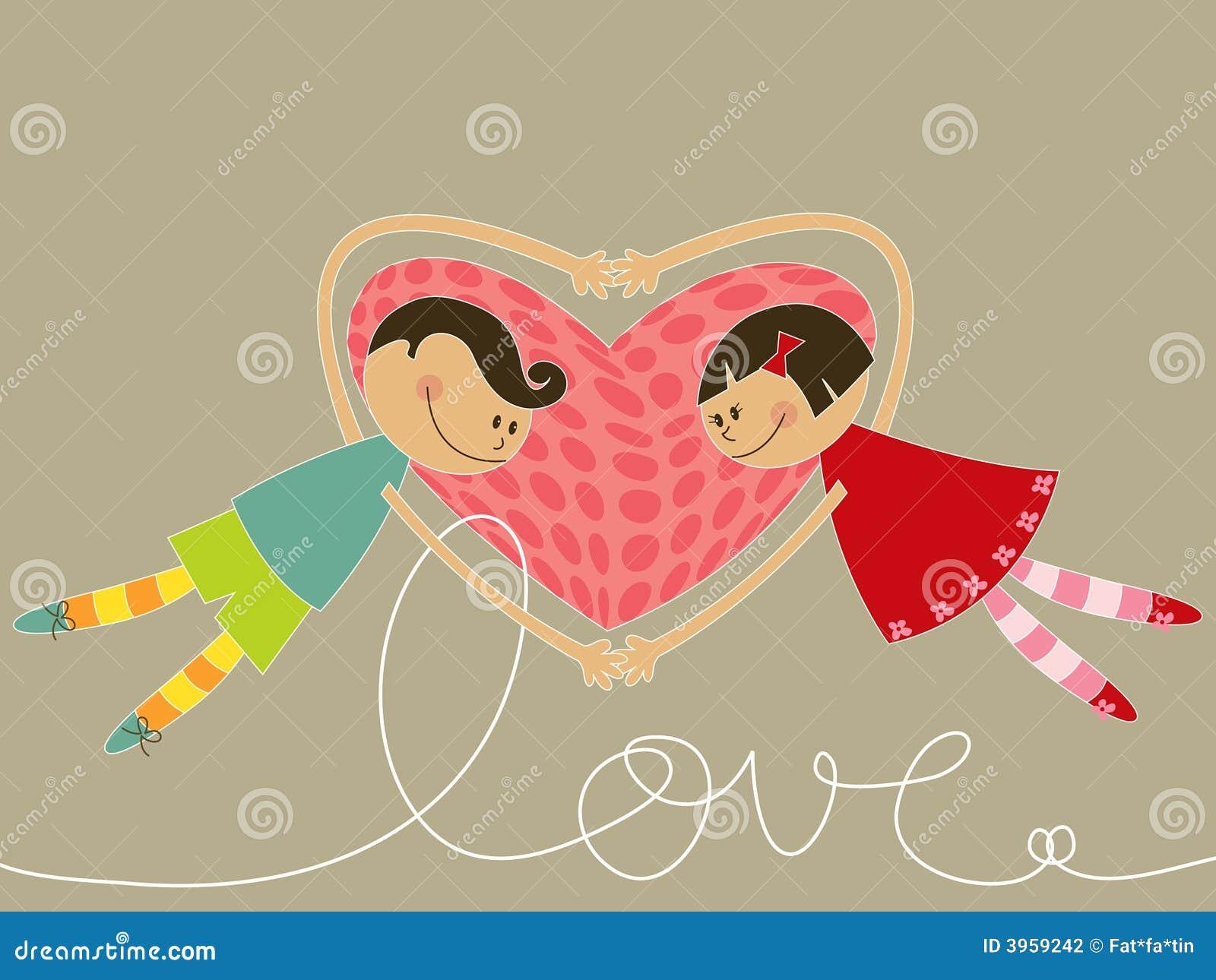 De jongen en het meisje van het beeldverhaal in liefde