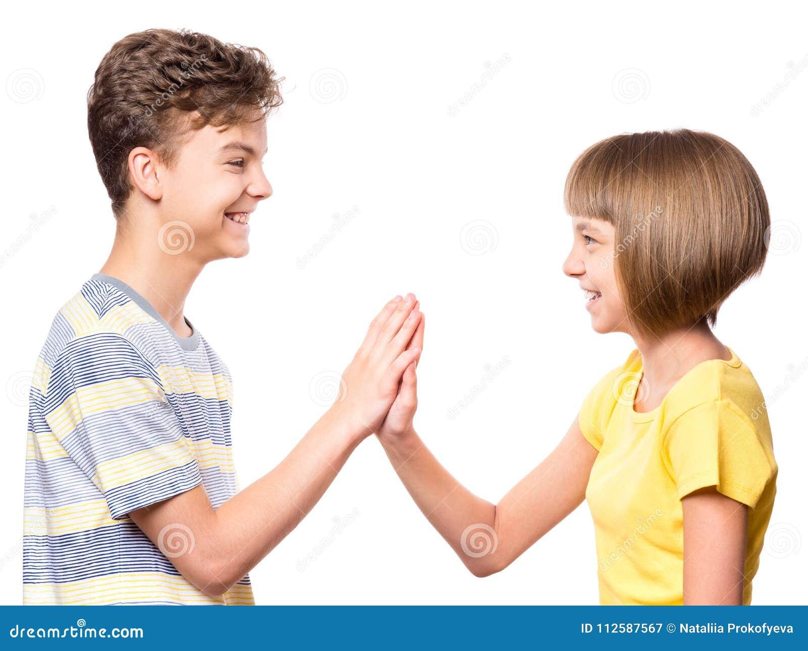 De jongen en het meisje van de vriendschapstiener