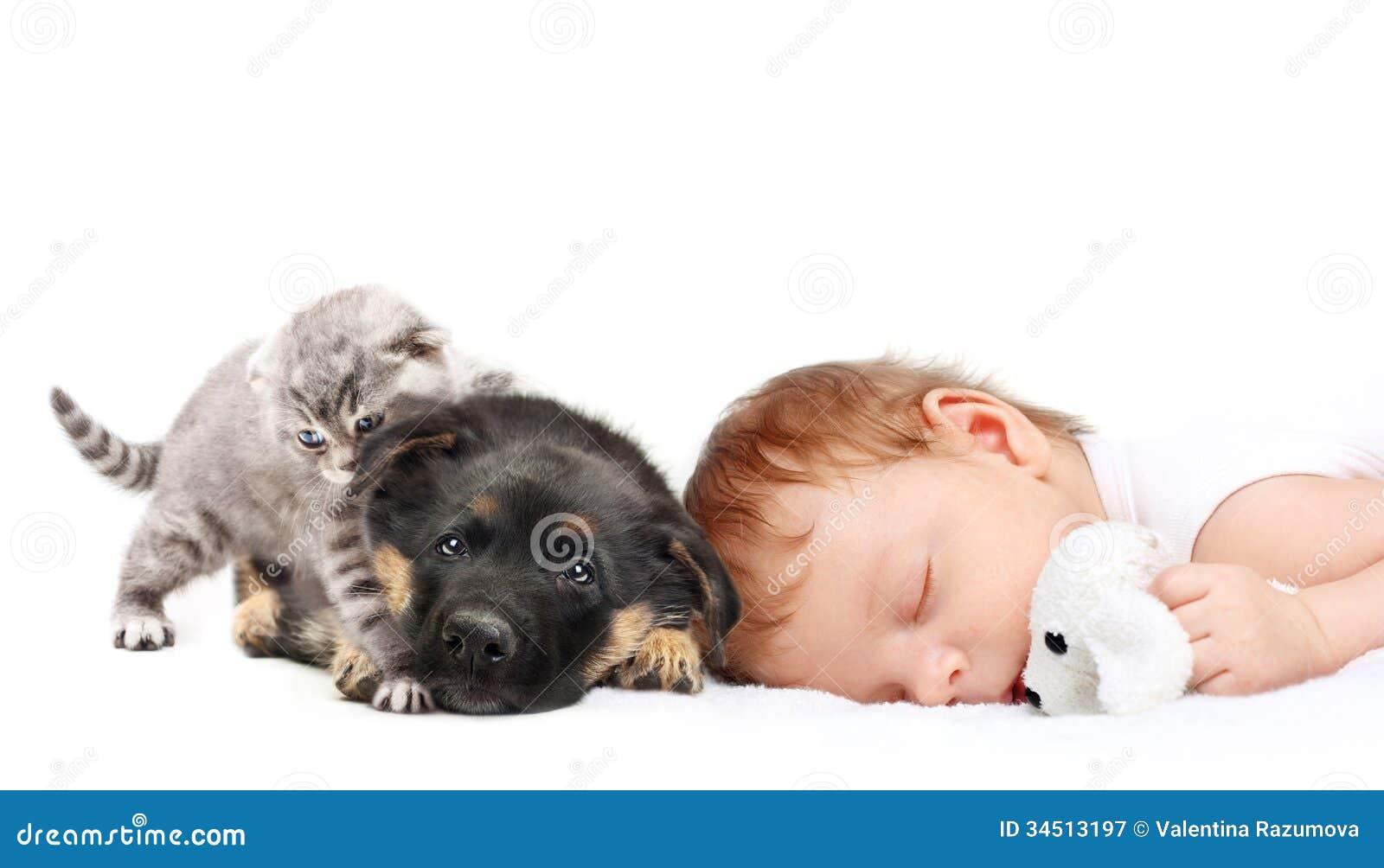 De jongen en het puppy van de slaapbaby stock afbeelding afbeelding 34513197 - Opslagkast ruimte van de jongen ...