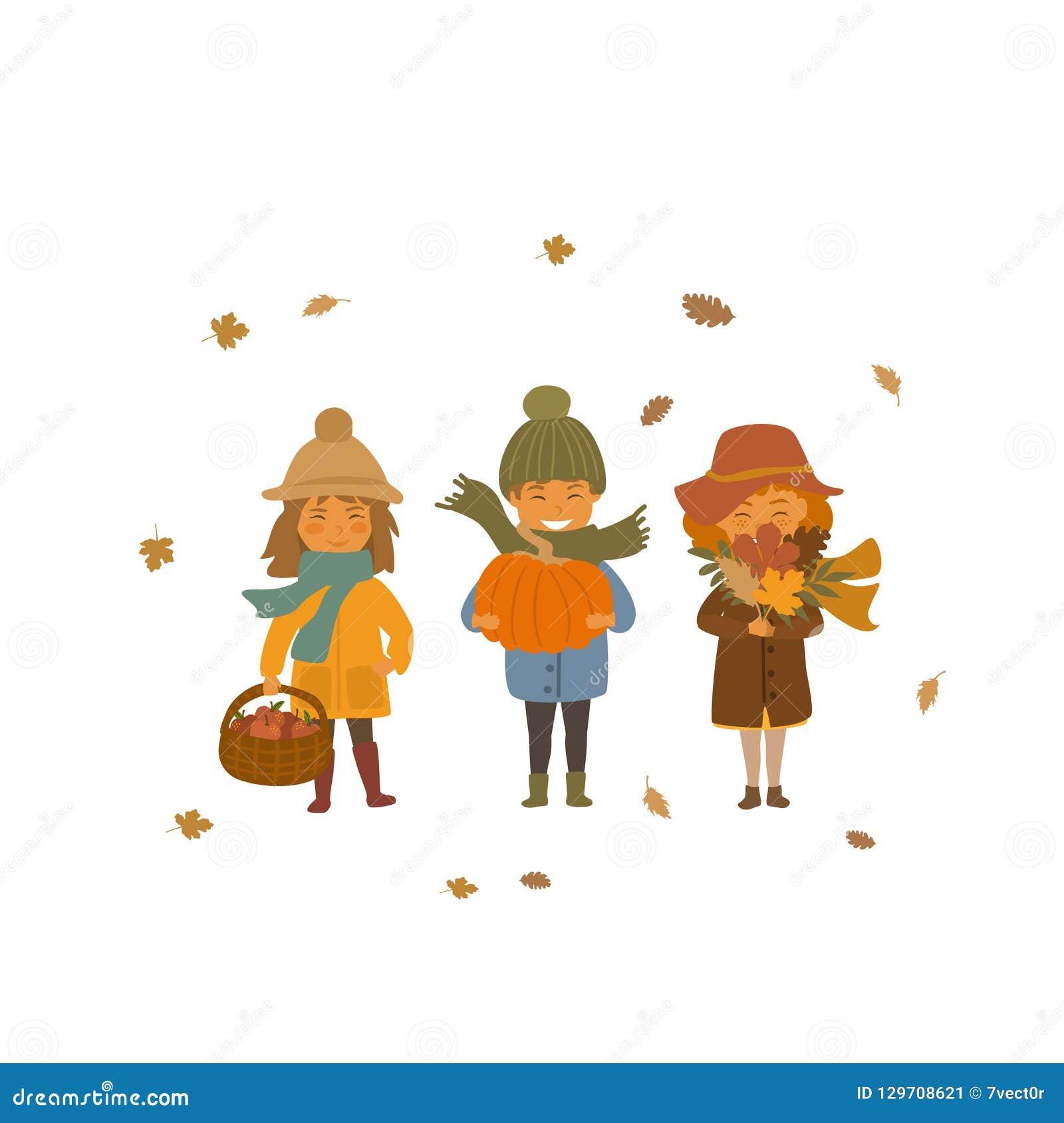 De jongen en de meisjes van de herfstkinderen met appelmanden, droge dalingsbladeren en pompoen geïsoleerde vectorillustratiescèn