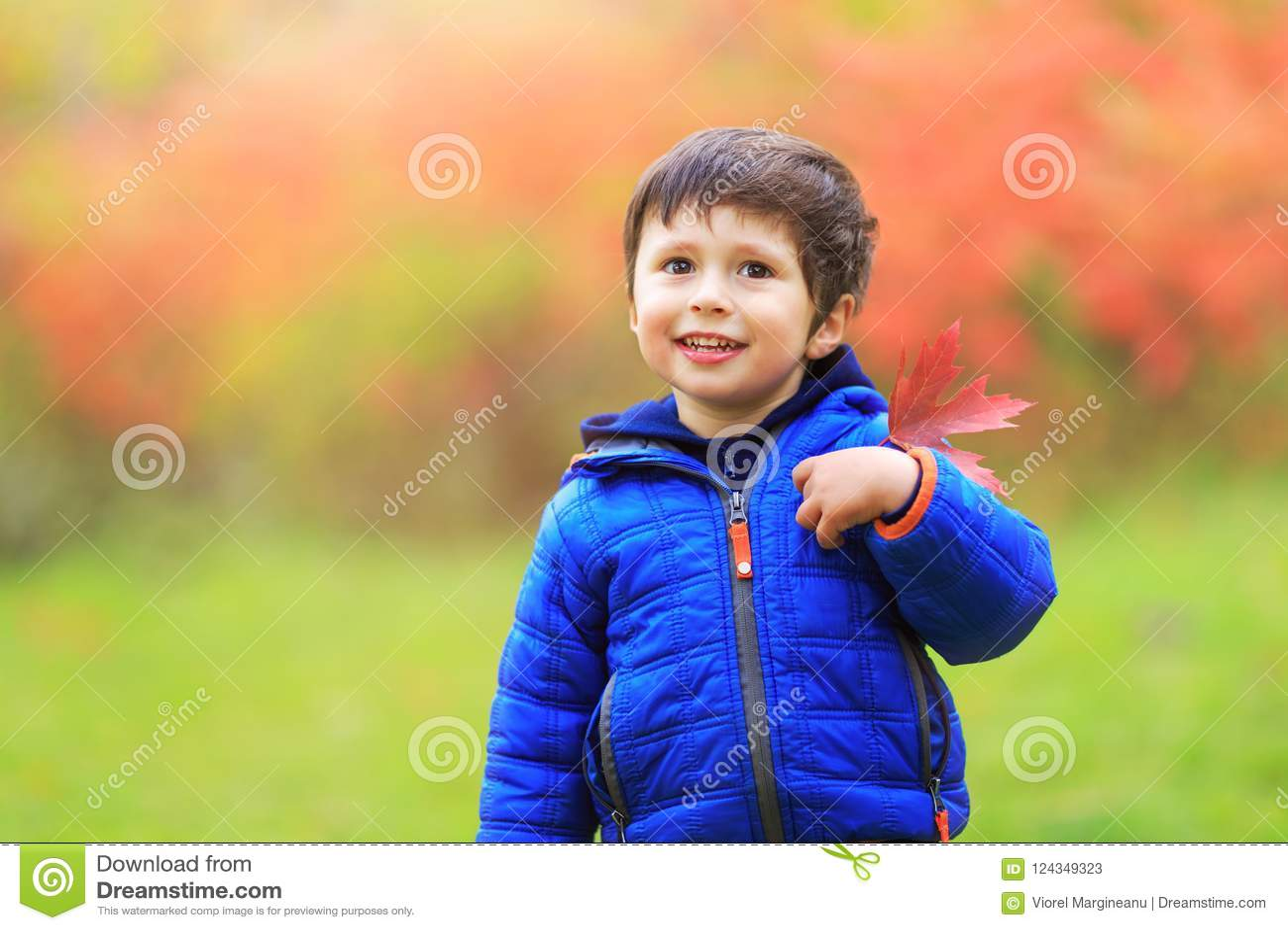 De jongen met een rood esdoornblad maakte in het hartgebied vast met grea