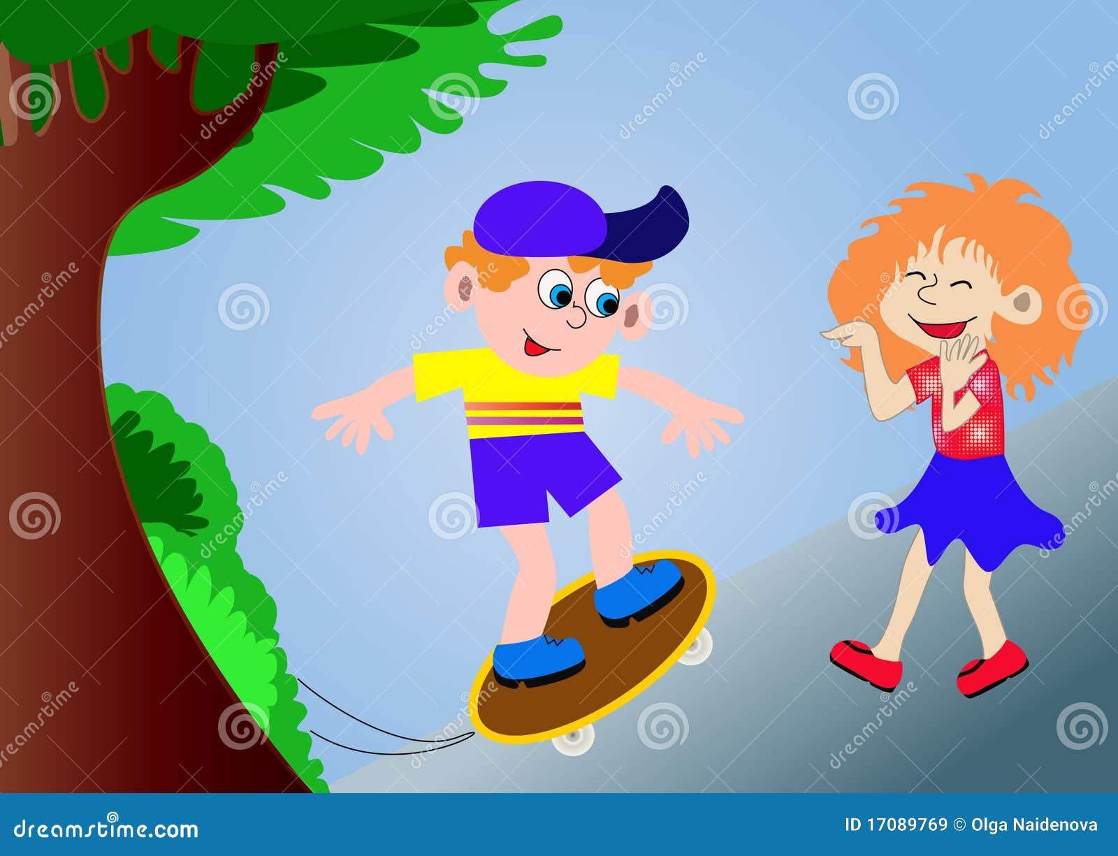 De jongen op een skateboard