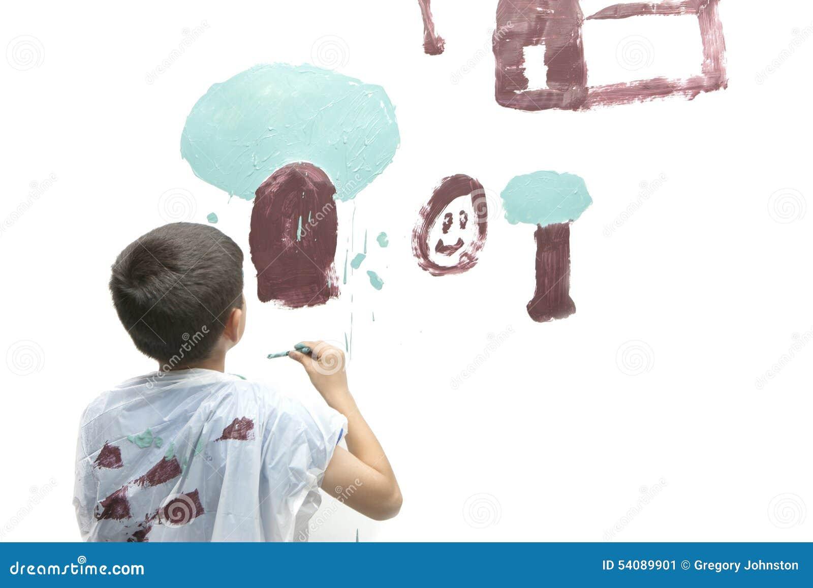 De jongen schildert beeld