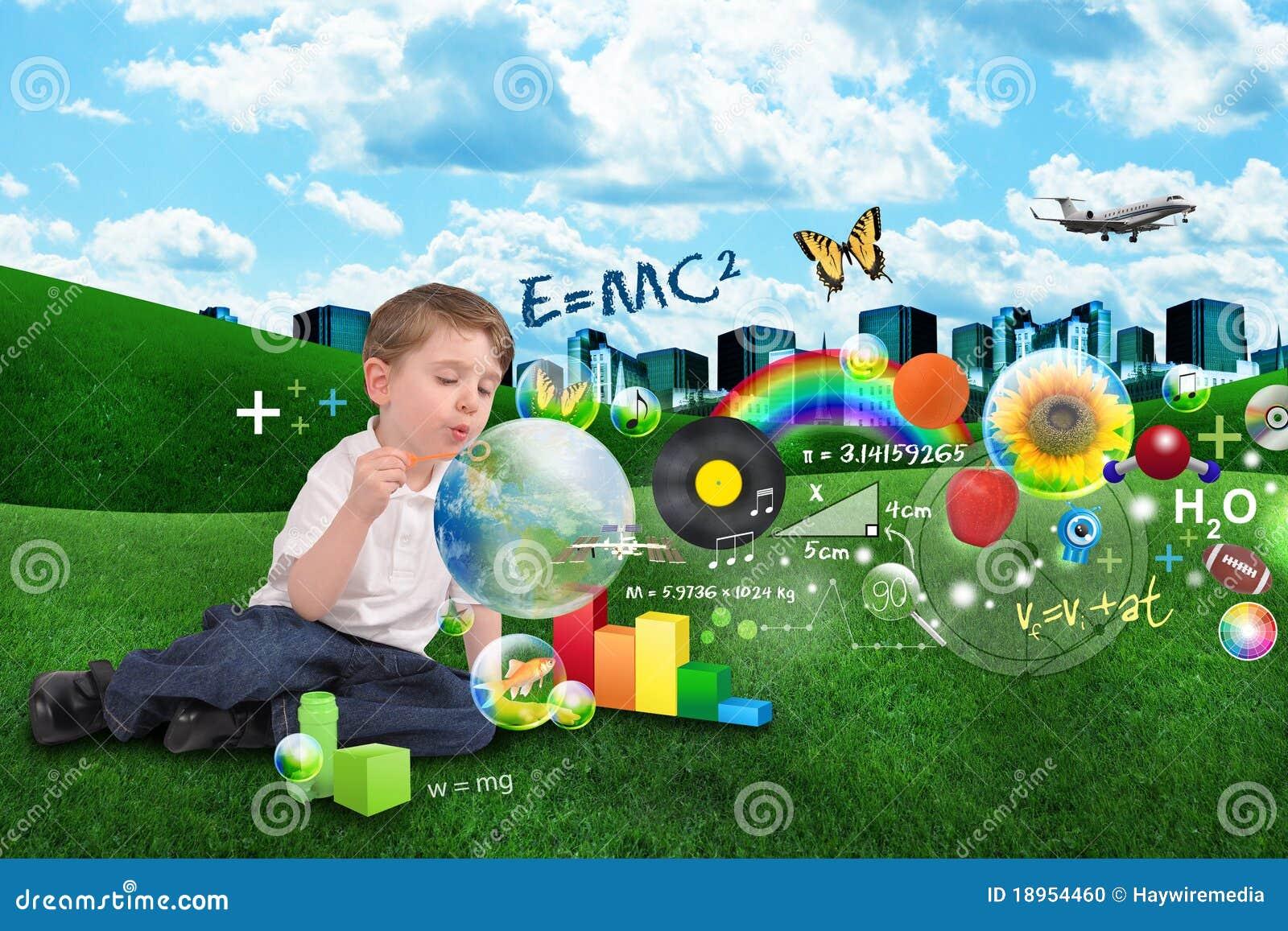 De jongen van de bel van de wetenschap van math van de kunst en van de muziek stock foto - Turquoise ruimte van de jongen ...