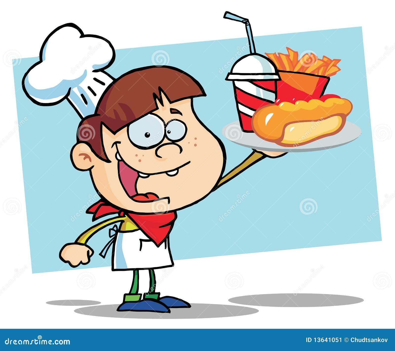 De jongen van de chef kok de dragende frieten en de drank van een hotdog vector illustratie - Turquoise ruimte van de jongen ...
