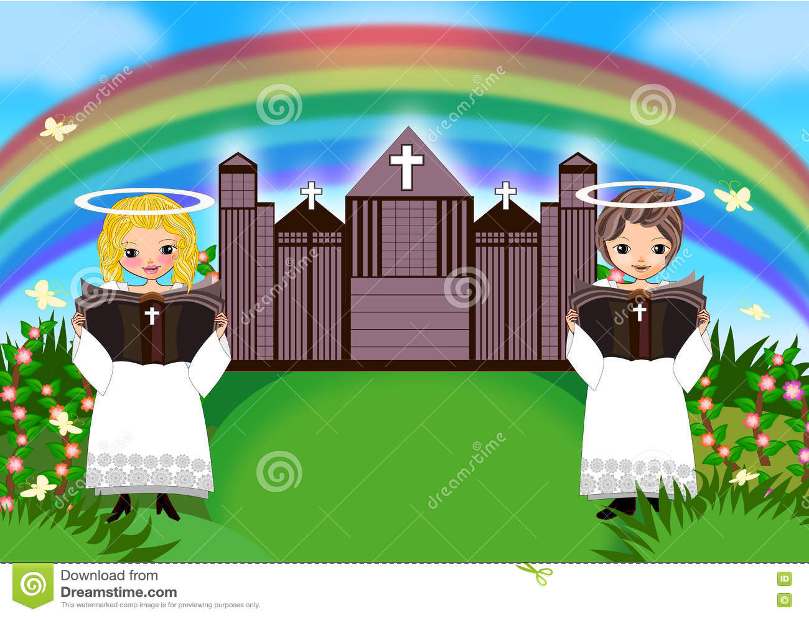 De jongen van het jonge geitjesmeisje in kerk