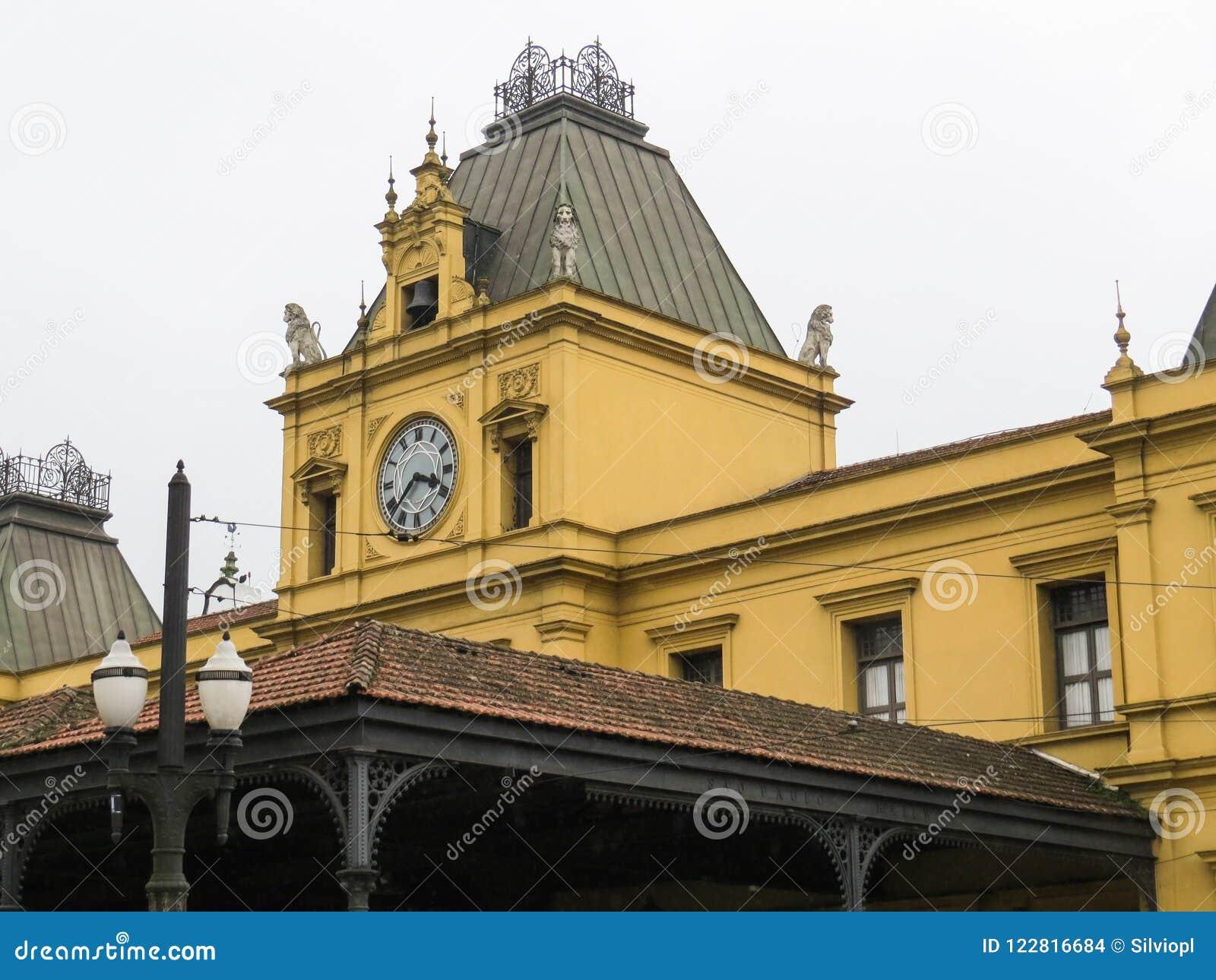 22 de julho de 2018, Santos, Sao Paulo, Brasil, torre do estação de caminhos-de-ferro velho