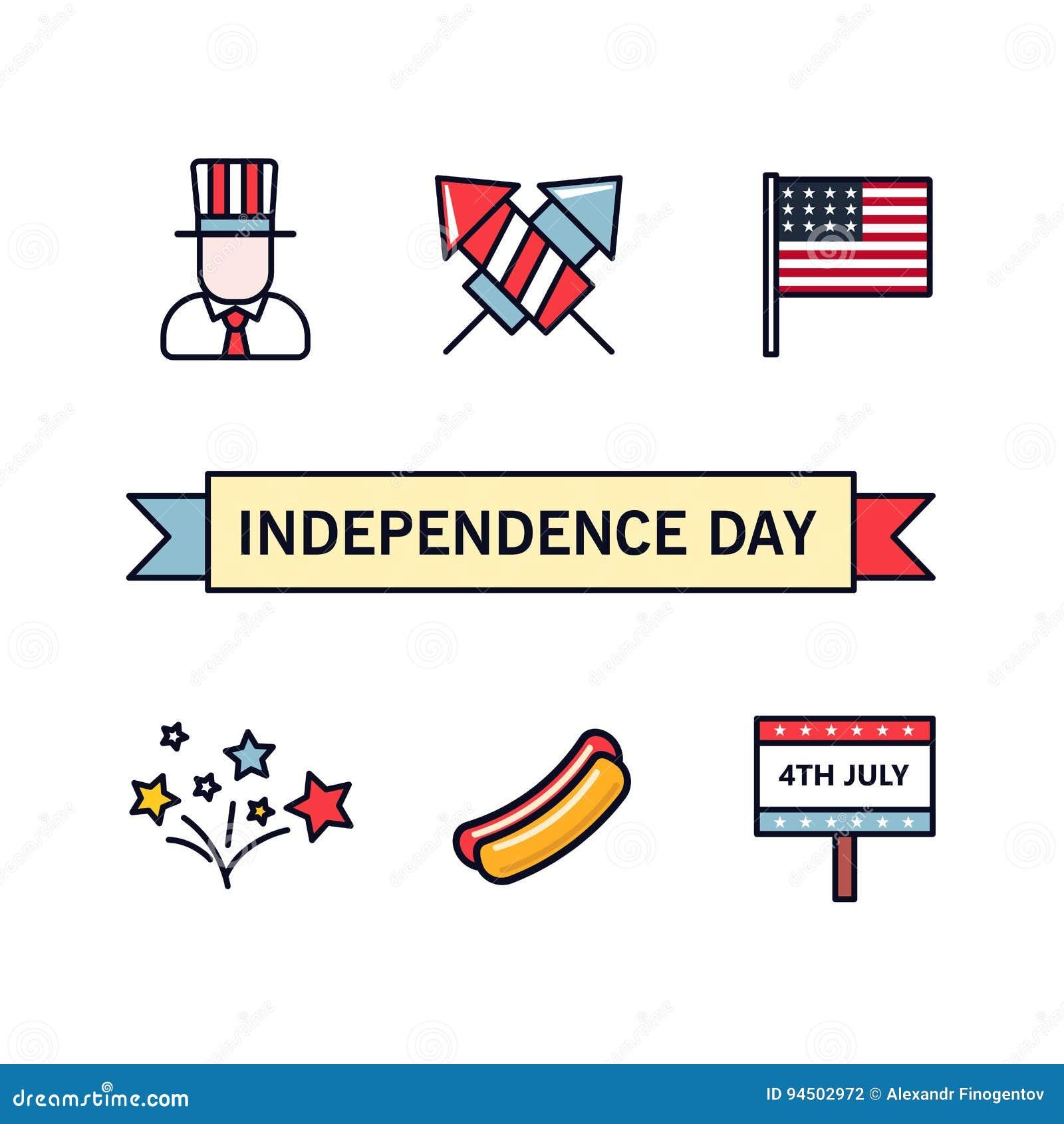 4 de julio Iconos patrióticos Día de la Independencia de América Iconos del vector fijados Colección de elementos planos del dise