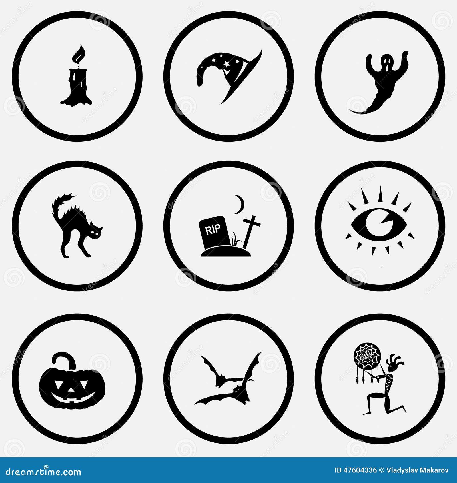 De kaars, de hoed van de astroloog, spook, kat, scheurt, oog, pompoen, knuppels, e